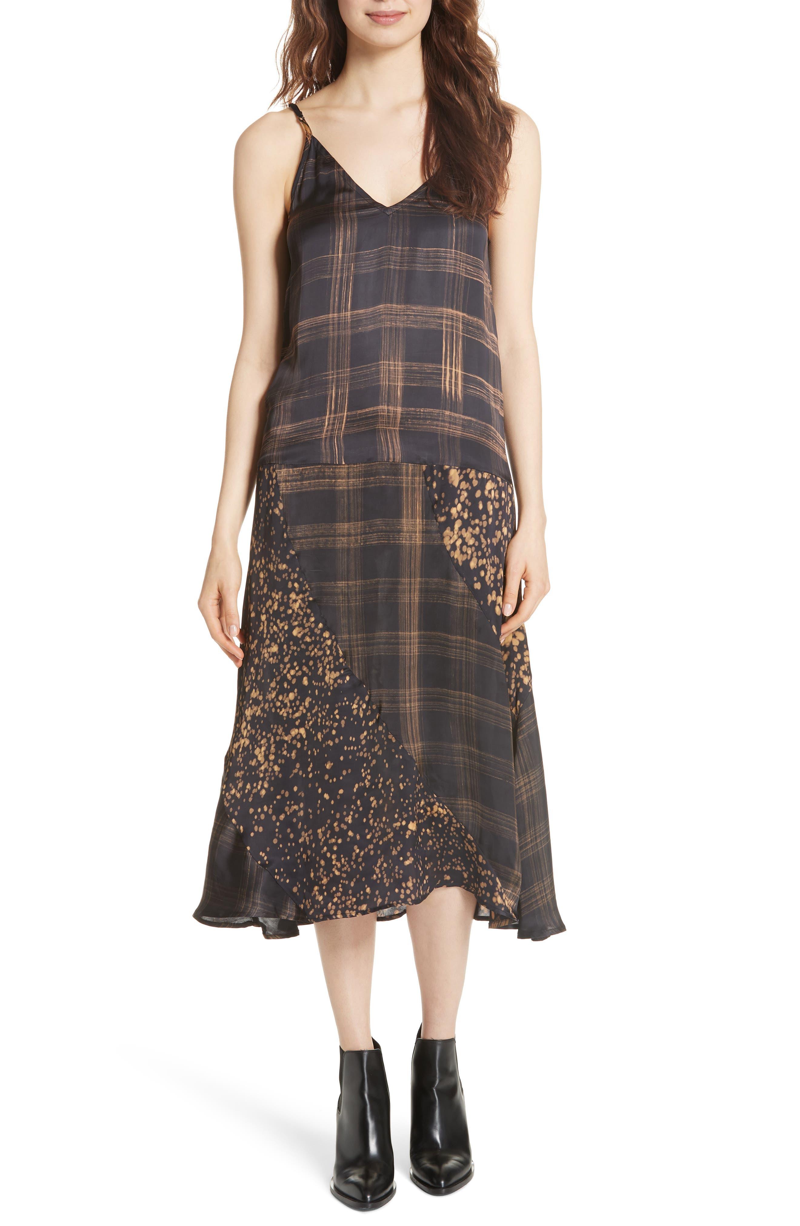 Gambetta Printed Midi Dress,                             Main thumbnail 1, color,                             Black Mix