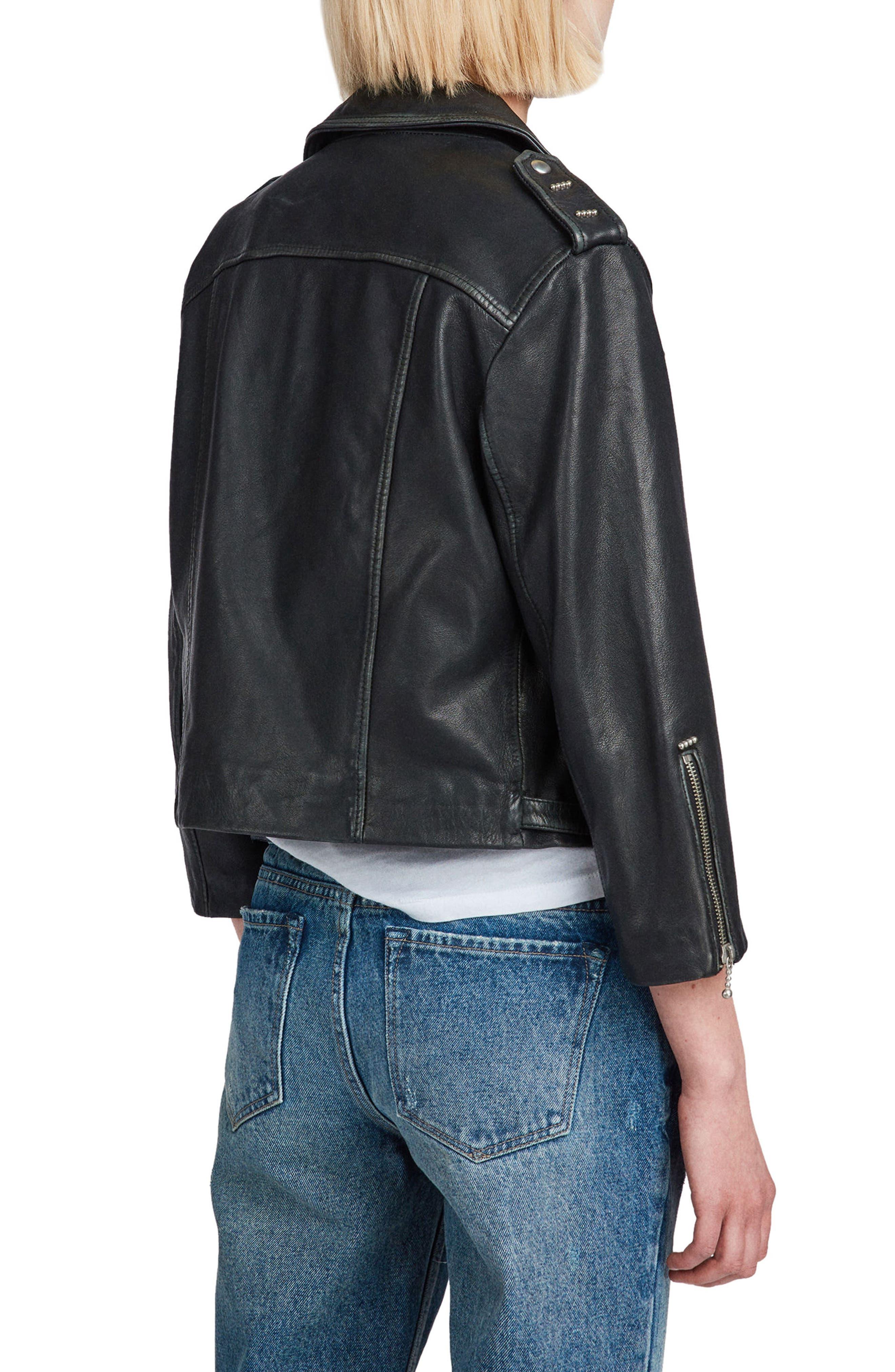Lara Sheepskin Leather Biker Jacket,                             Alternate thumbnail 2, color,                             Black