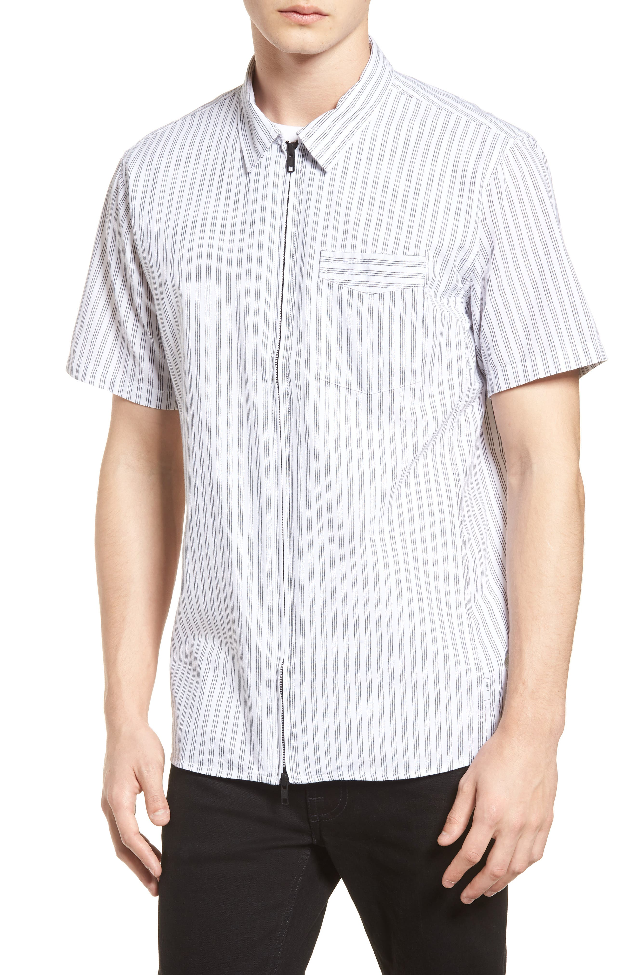 Rollins Woven Shirt,                         Main,                         color, Black/White Stripe