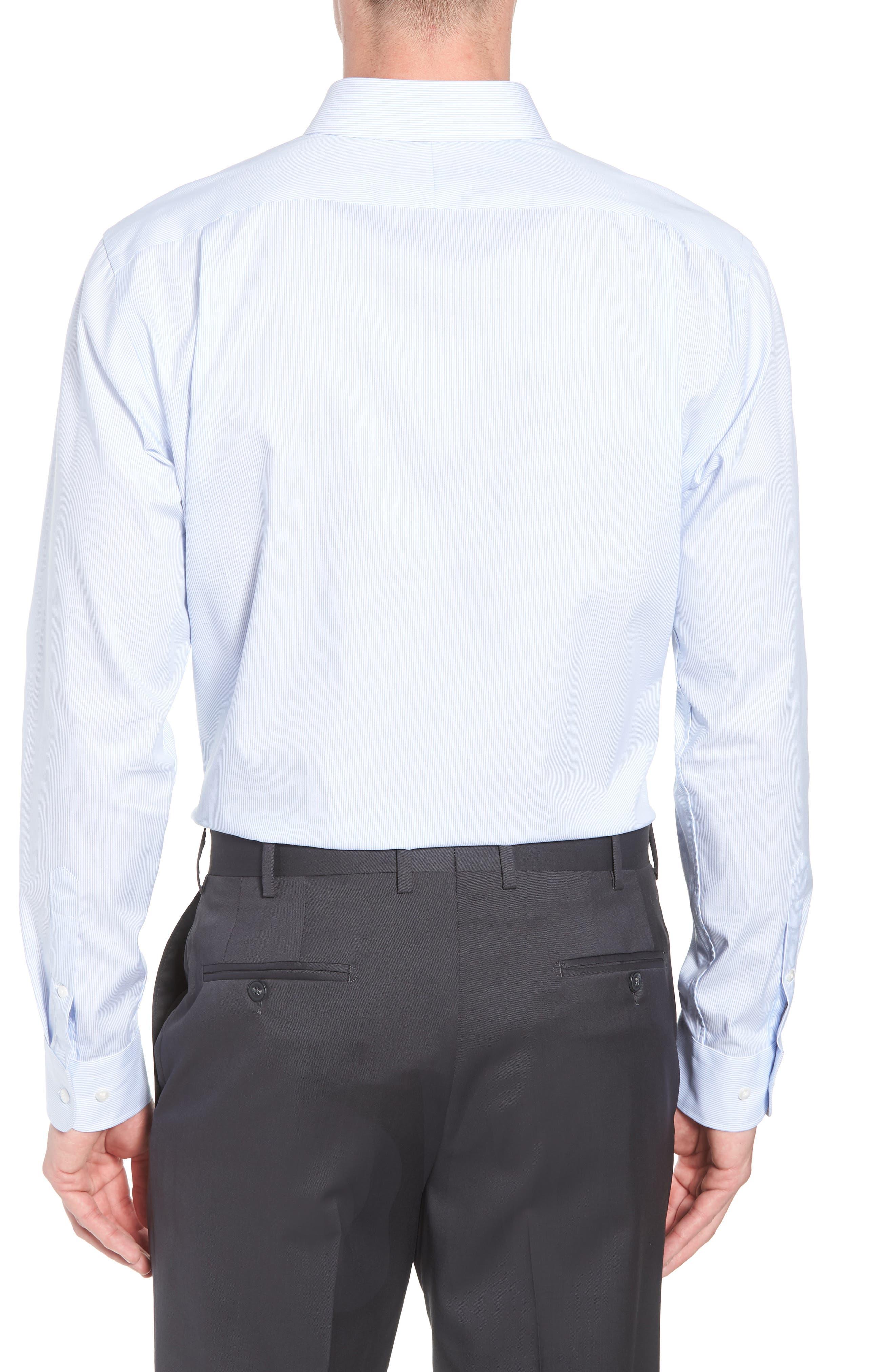 Trim Fit Non-Iron Stripe Dress Shirt,                             Alternate thumbnail 3, color,                             Blue Vista