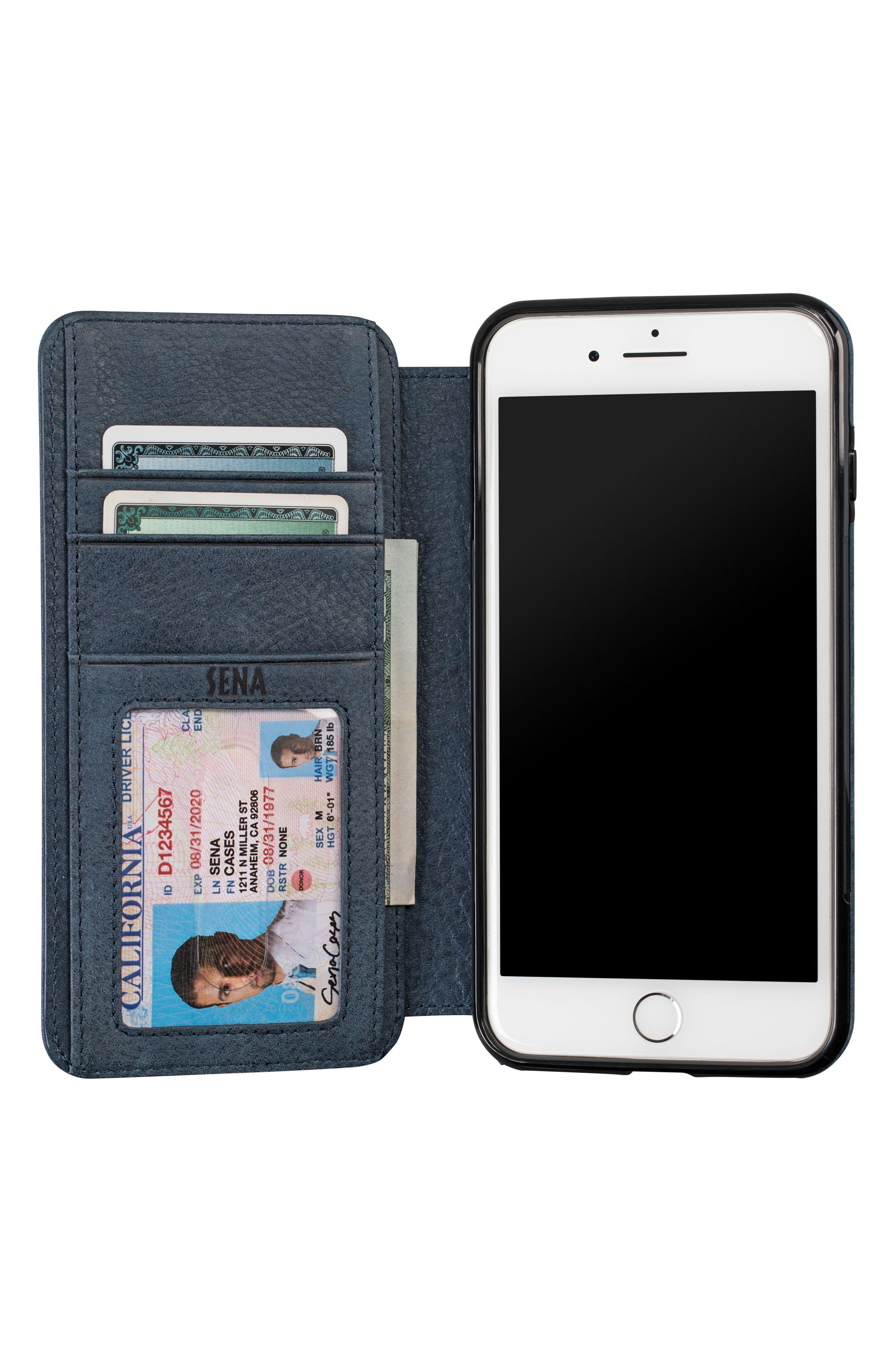 Bence iPhone 7/8 Plus Walletbook,                             Alternate thumbnail 4, color,                             Denim