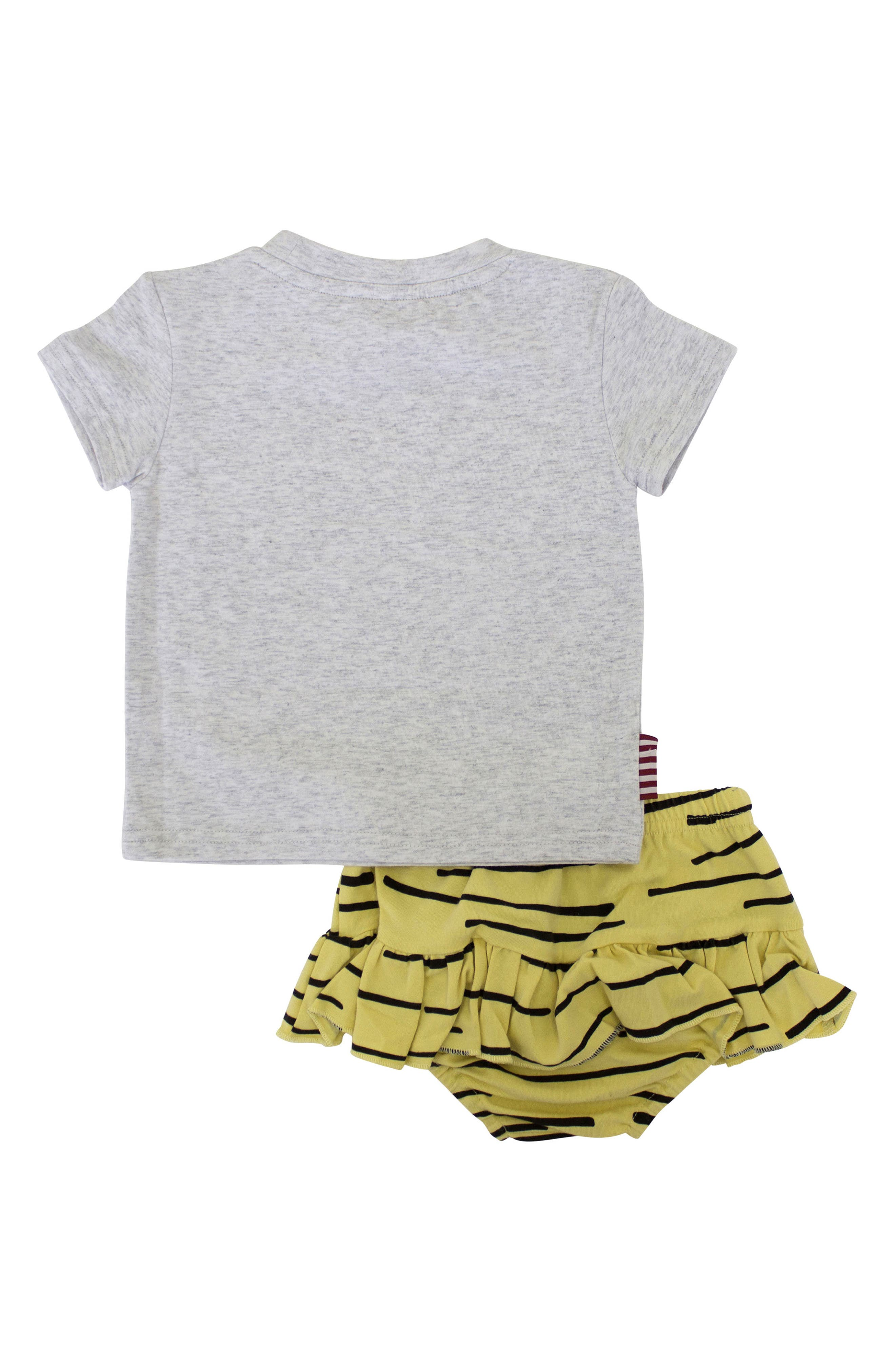 Tiger Stripe Tee & Skirted Bloomers Set,                             Alternate thumbnail 2, color,                             Grey/ Yellow