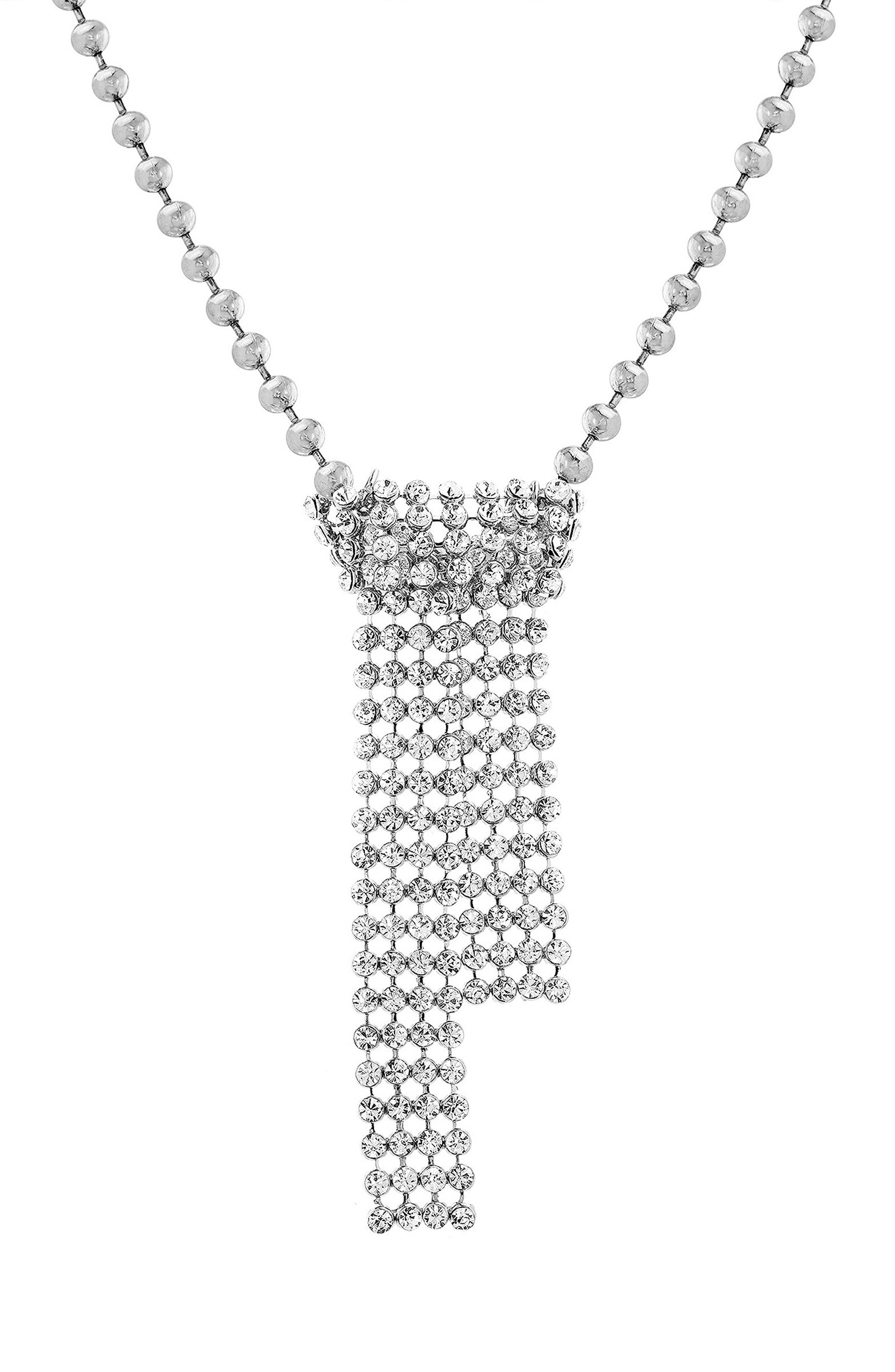 Casted Crystal Necklace,                         Main,                         color, Silver