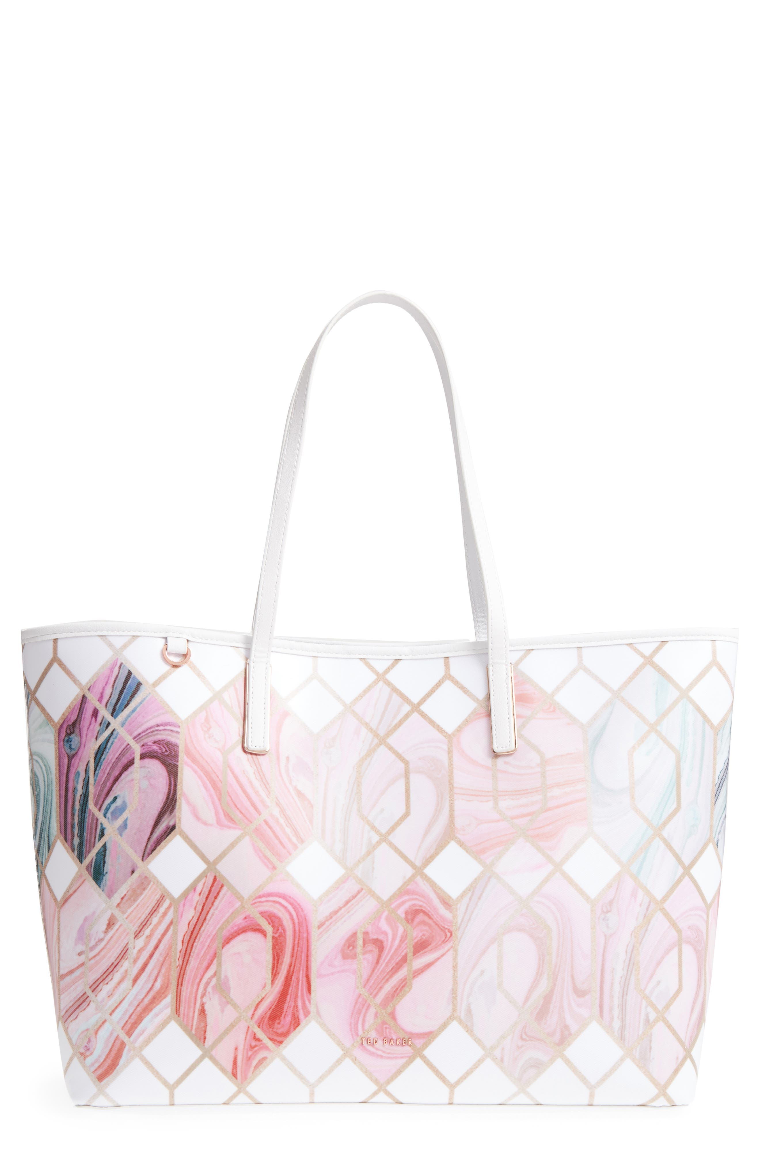 Aamy Sea of Clouds Bloom Canvas Tote,                         Main,                         color, White