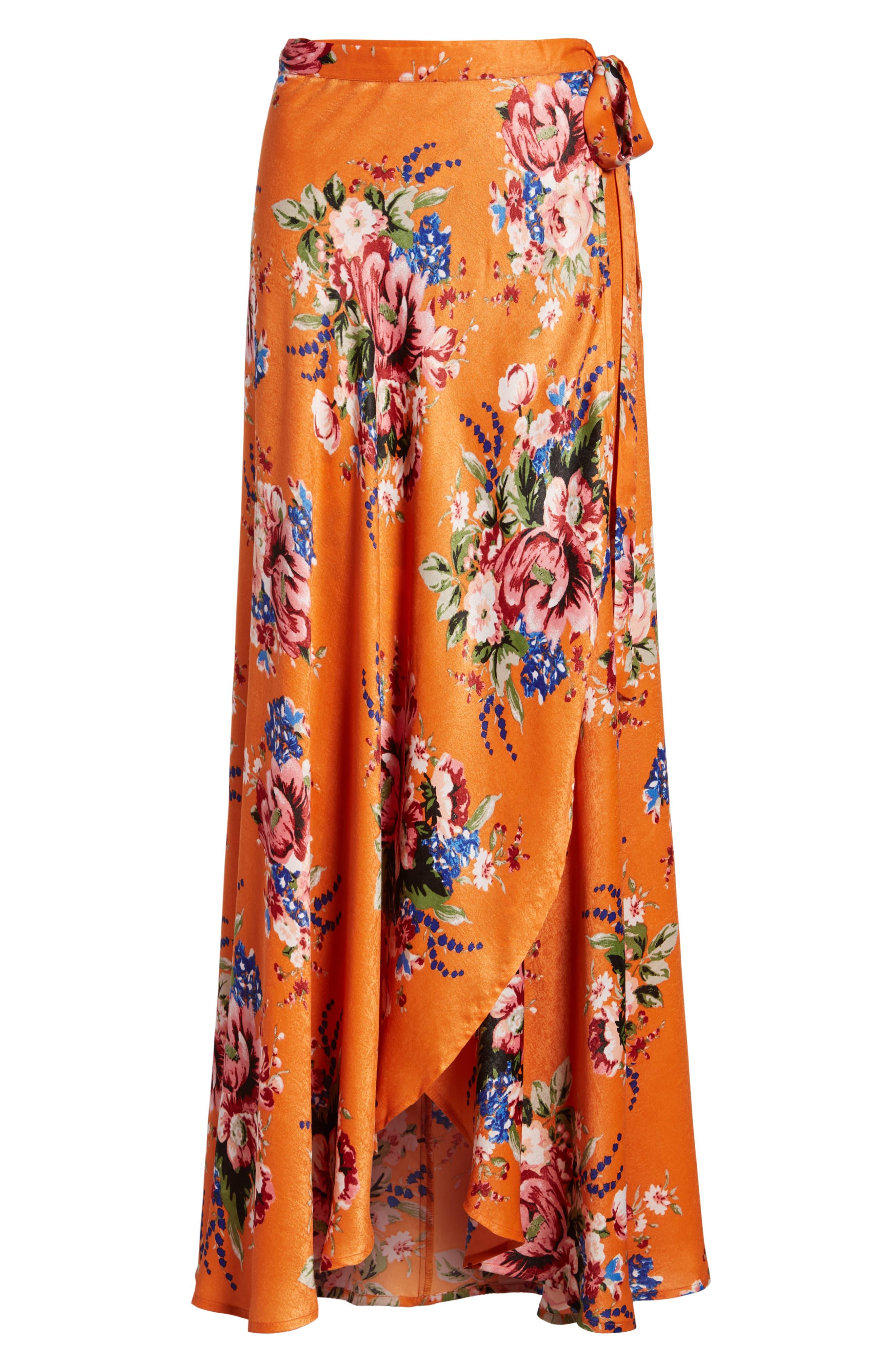 Zoey Satin Wrap Skirt,                             Alternate thumbnail 7, color,                             Orange Rose