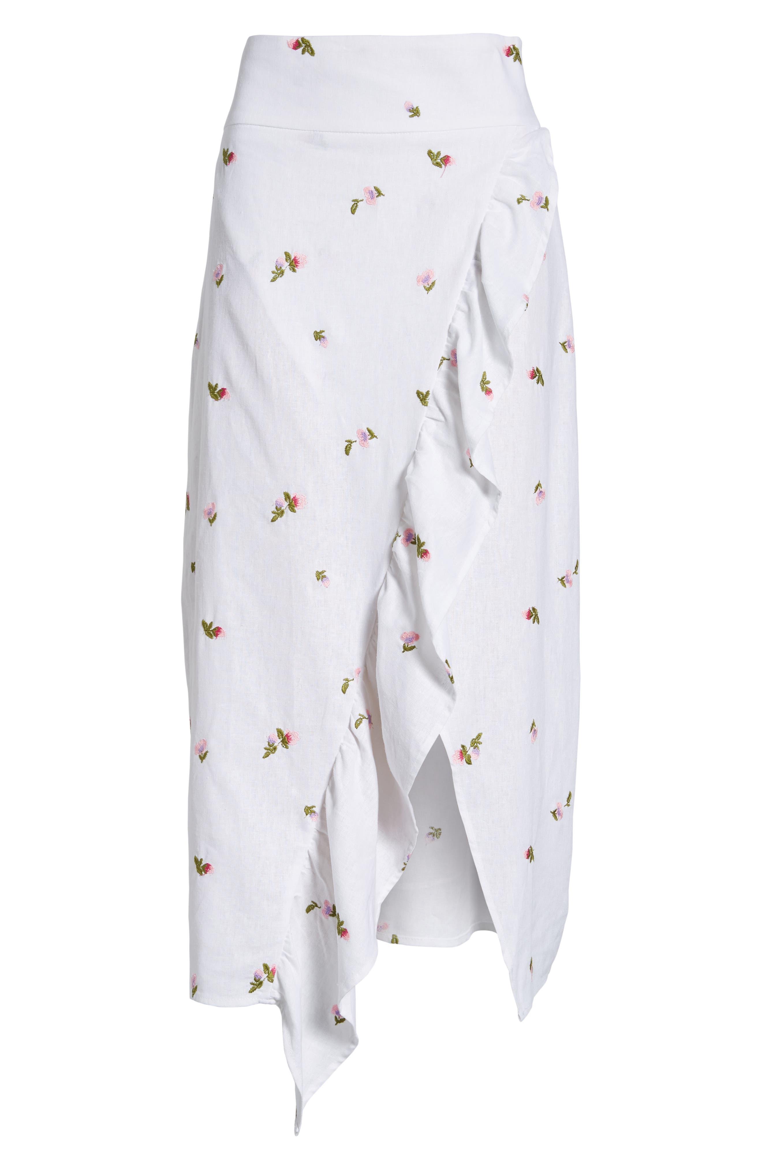 Sunset Midi Skirt,                             Alternate thumbnail 6, color,                             Ditsy Embroidery