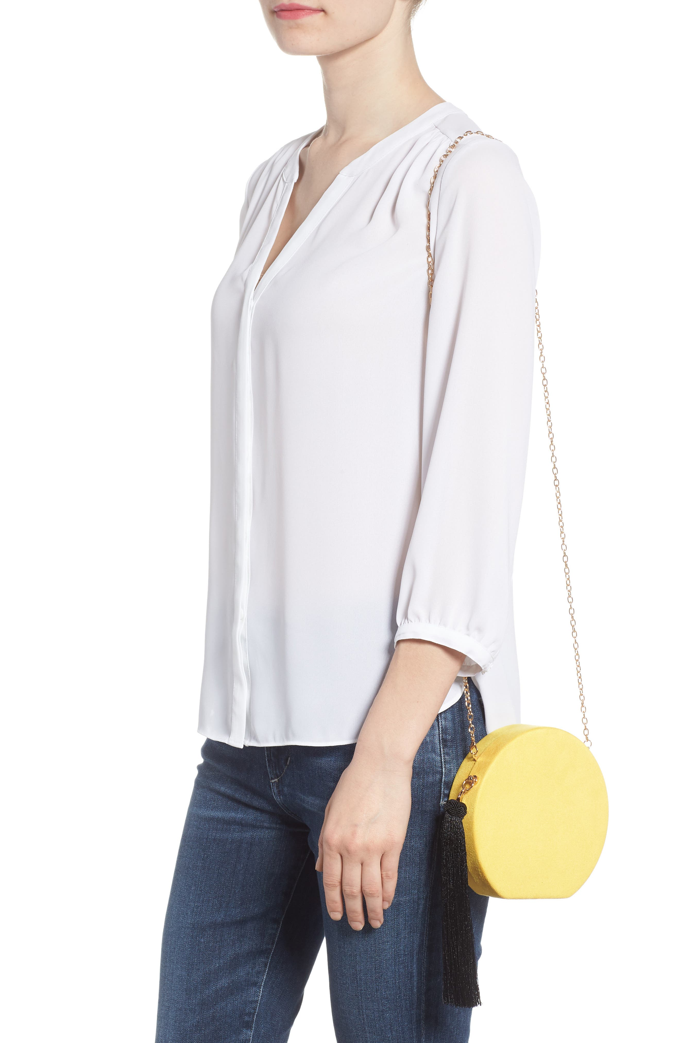 Couture Round Tassel Clutch,                             Alternate thumbnail 2, color,                             Yellow