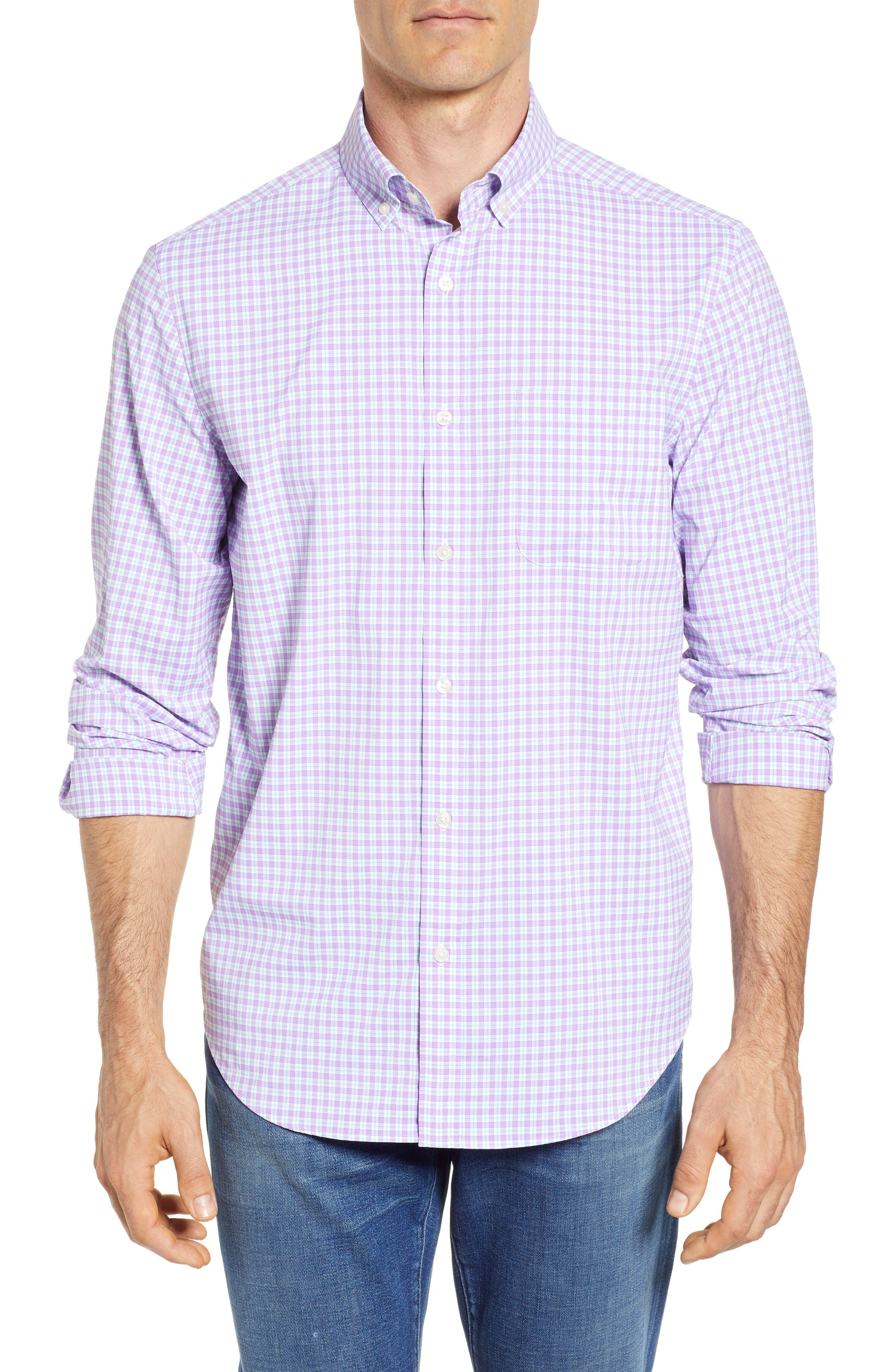 Oyster Pond Slim Fit Plaid Sport Shirt,                         Main,                         color, Sea Urchin