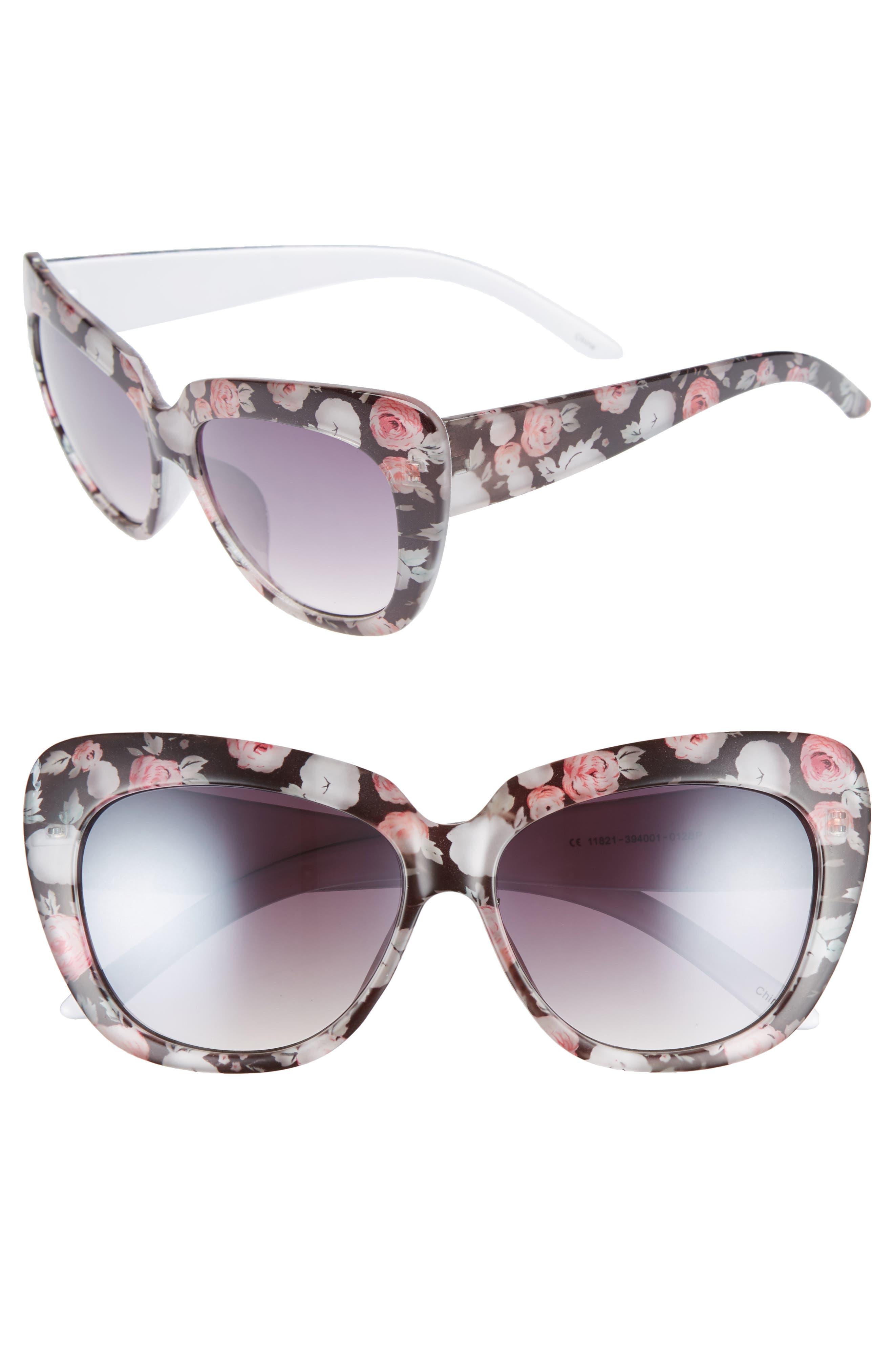 57mm Print Cat Eye Sunglasses,                             Main thumbnail 1, color,                             Black/ Multi