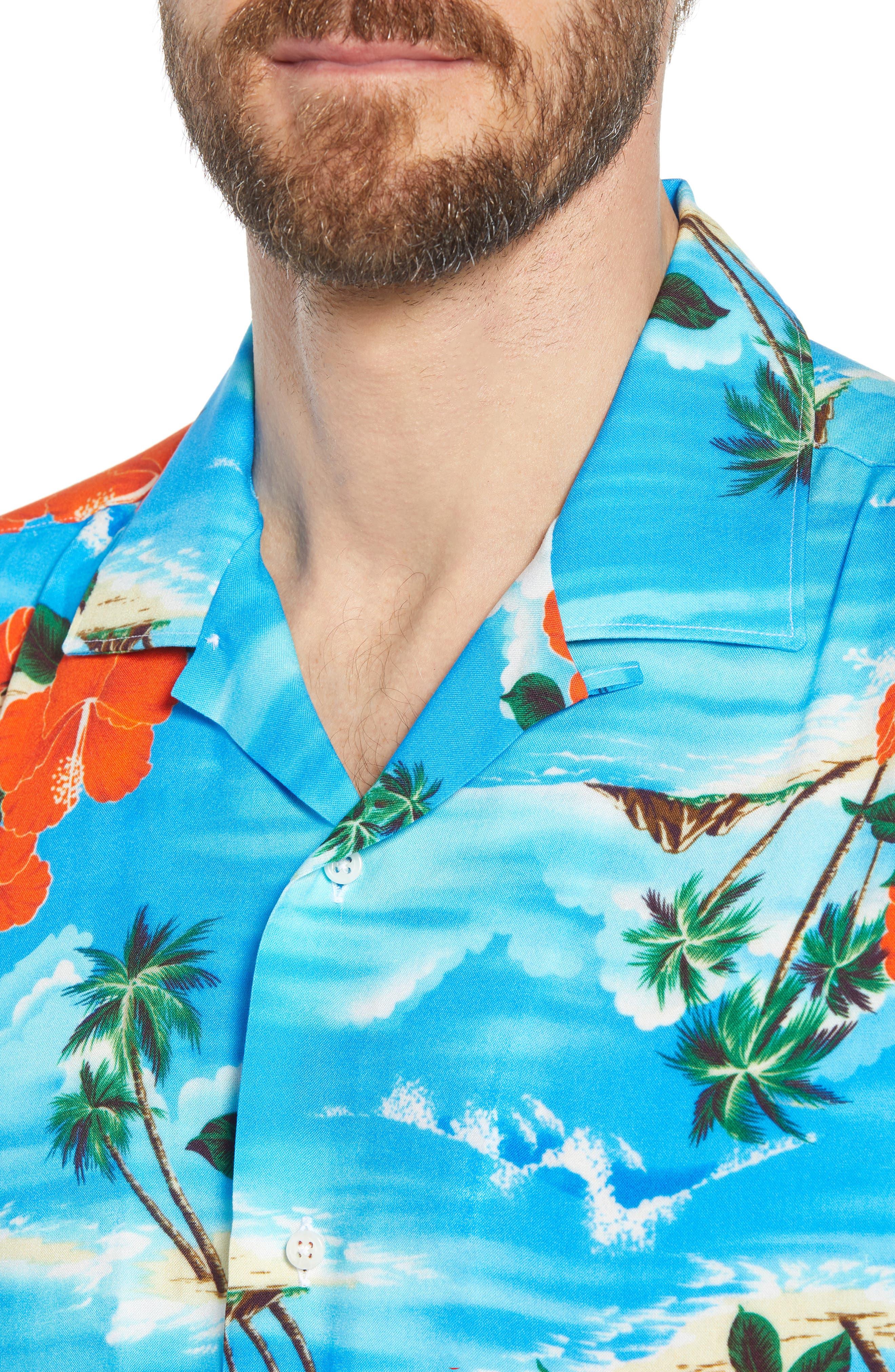 Regular Fit Print Camp Shirt,                             Alternate thumbnail 2, color,                             Blue Aloha