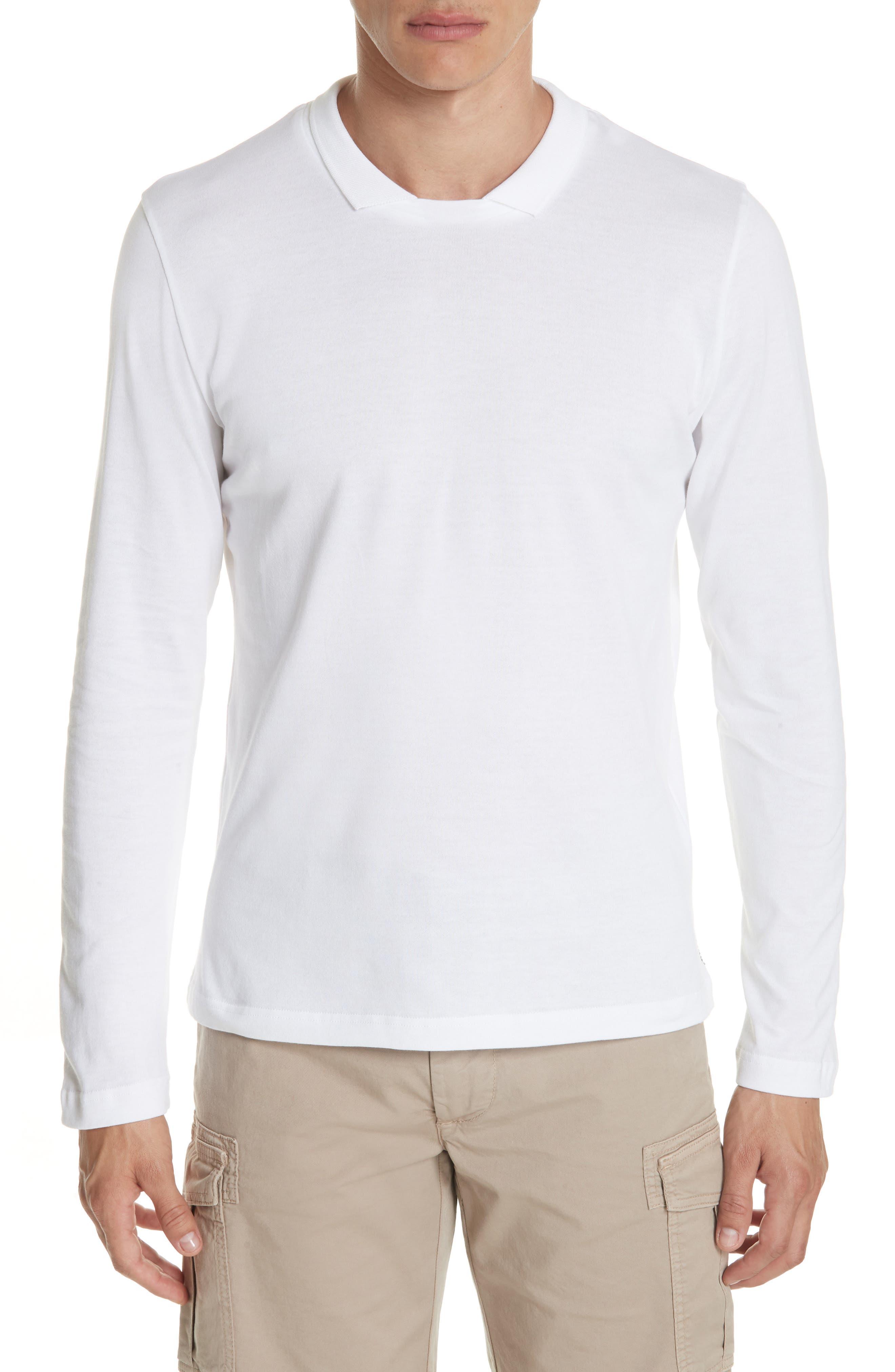 Long Sleeve Polo Shirt,                             Main thumbnail 1, color,                             Ivory