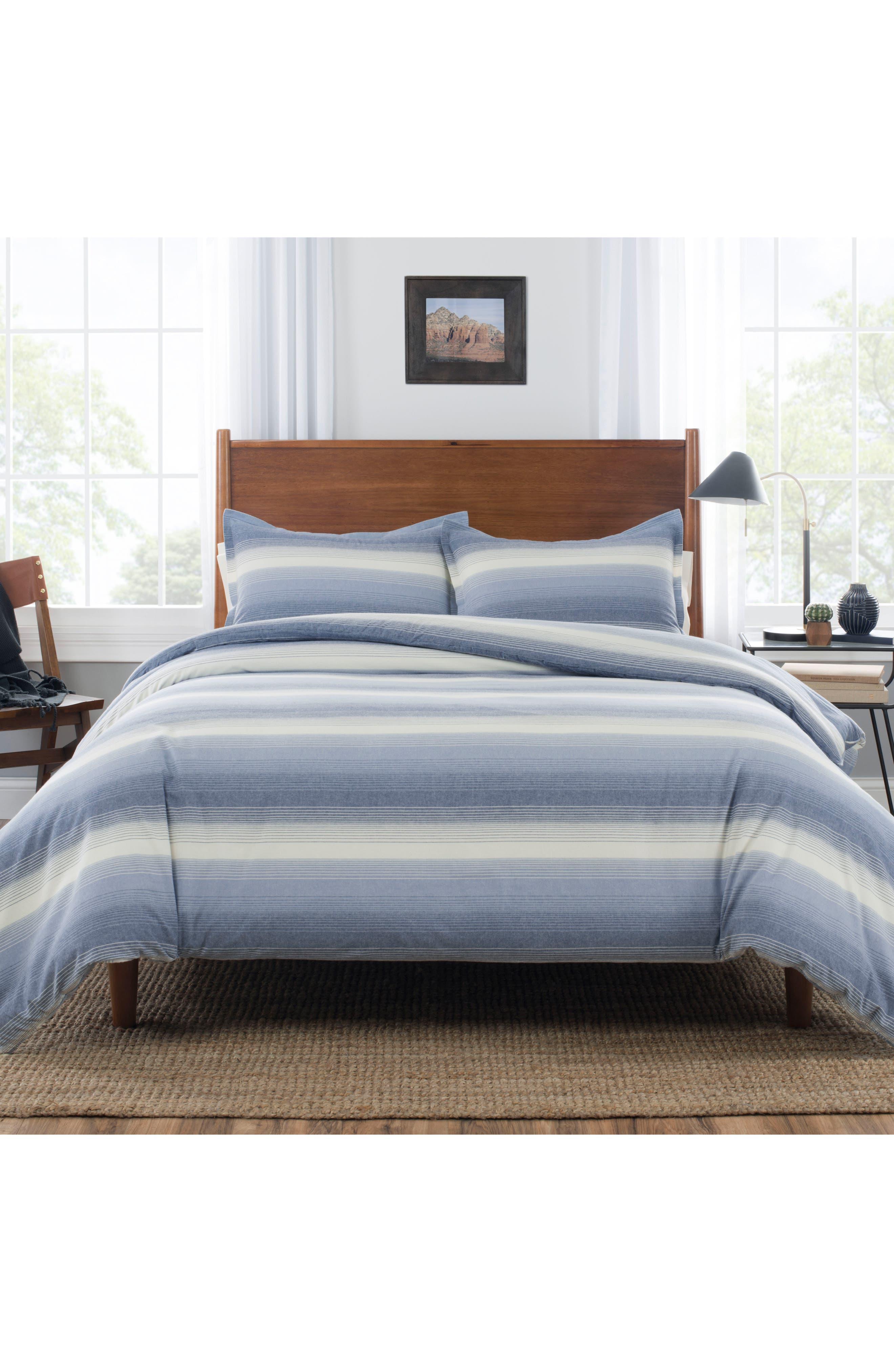 Ombré Stripe Comforter & Sham Set,                             Main thumbnail 1, color,                             Denim