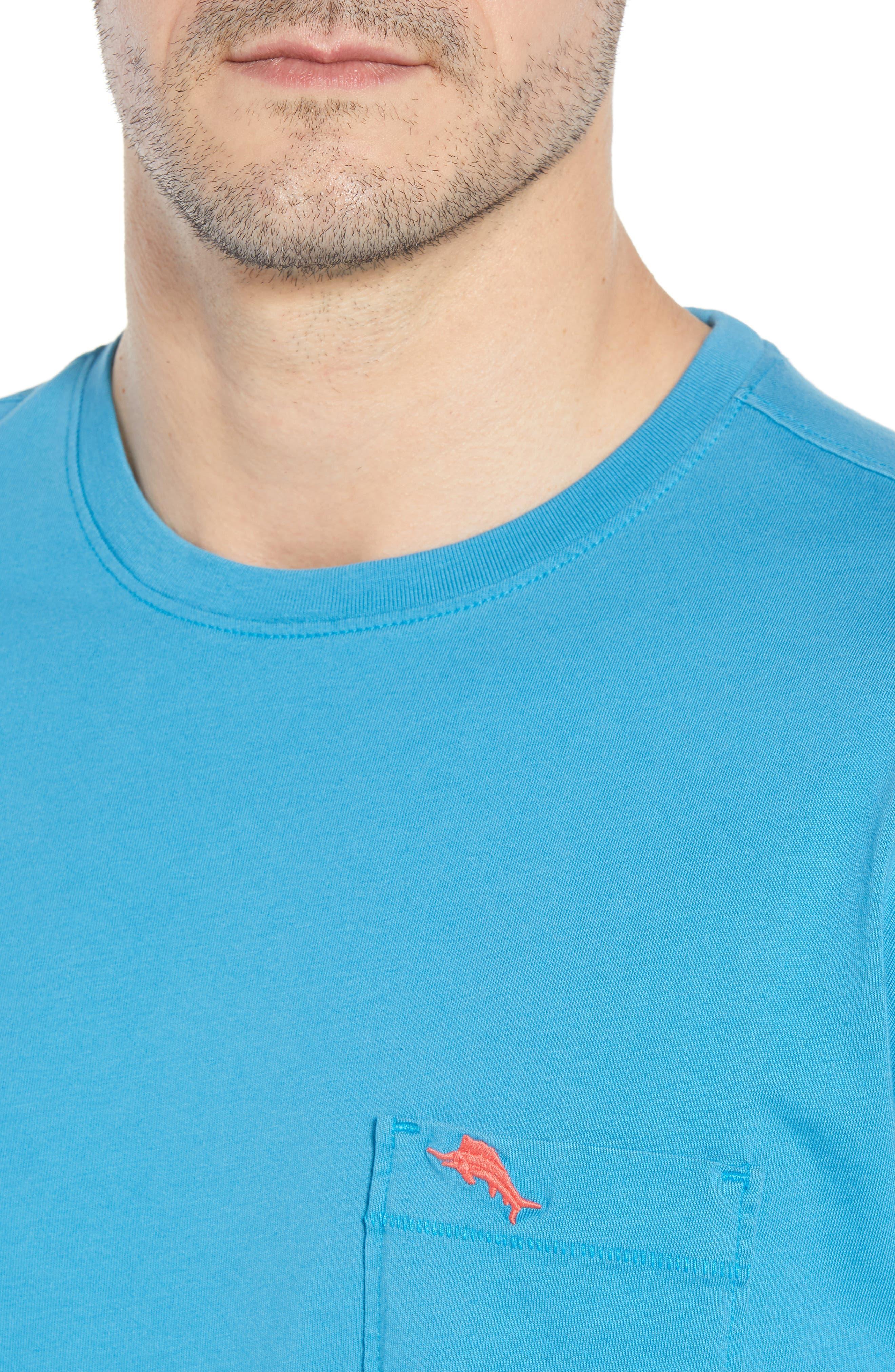 New Bali Sky Pima Cotton Pocket T-Shirt,                             Alternate thumbnail 4, color,                             Voyager Blue