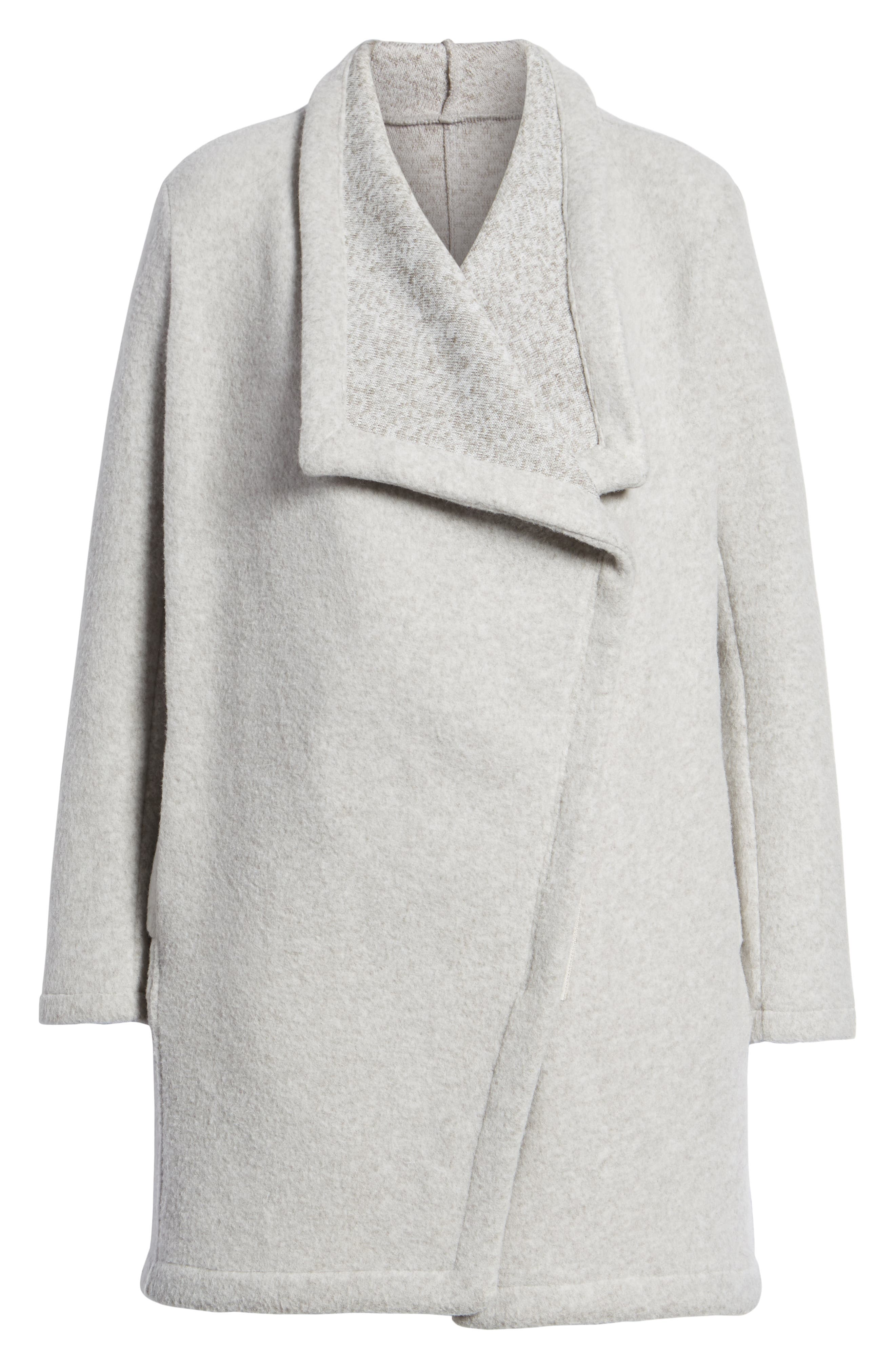 Maggie Brushed Fleece Drape Collar Coat,                             Alternate thumbnail 6, color,                             Light Heather Grey