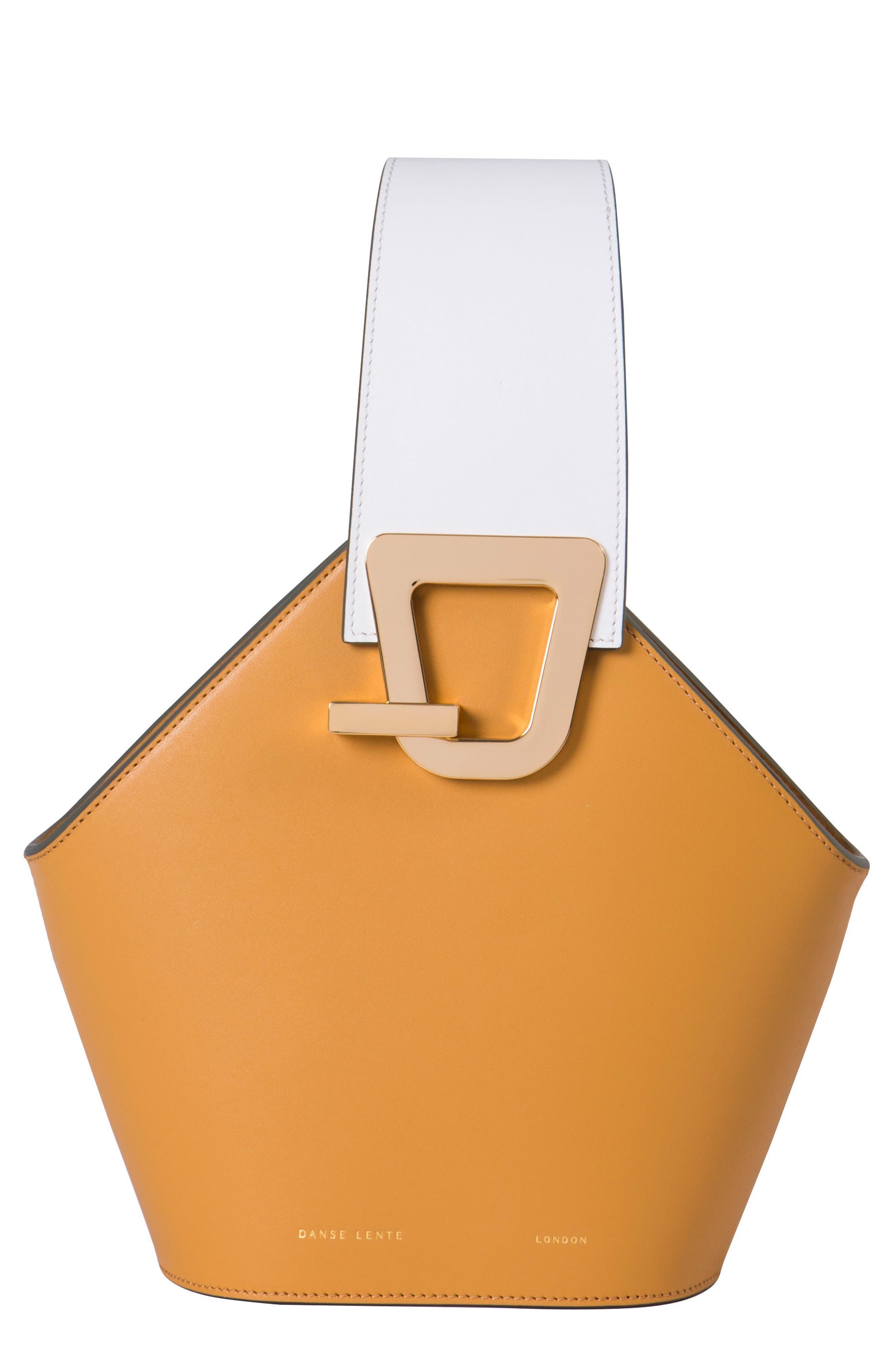 Mini Johnny Leather Bucket Bag,                         Main,                         color, Sand