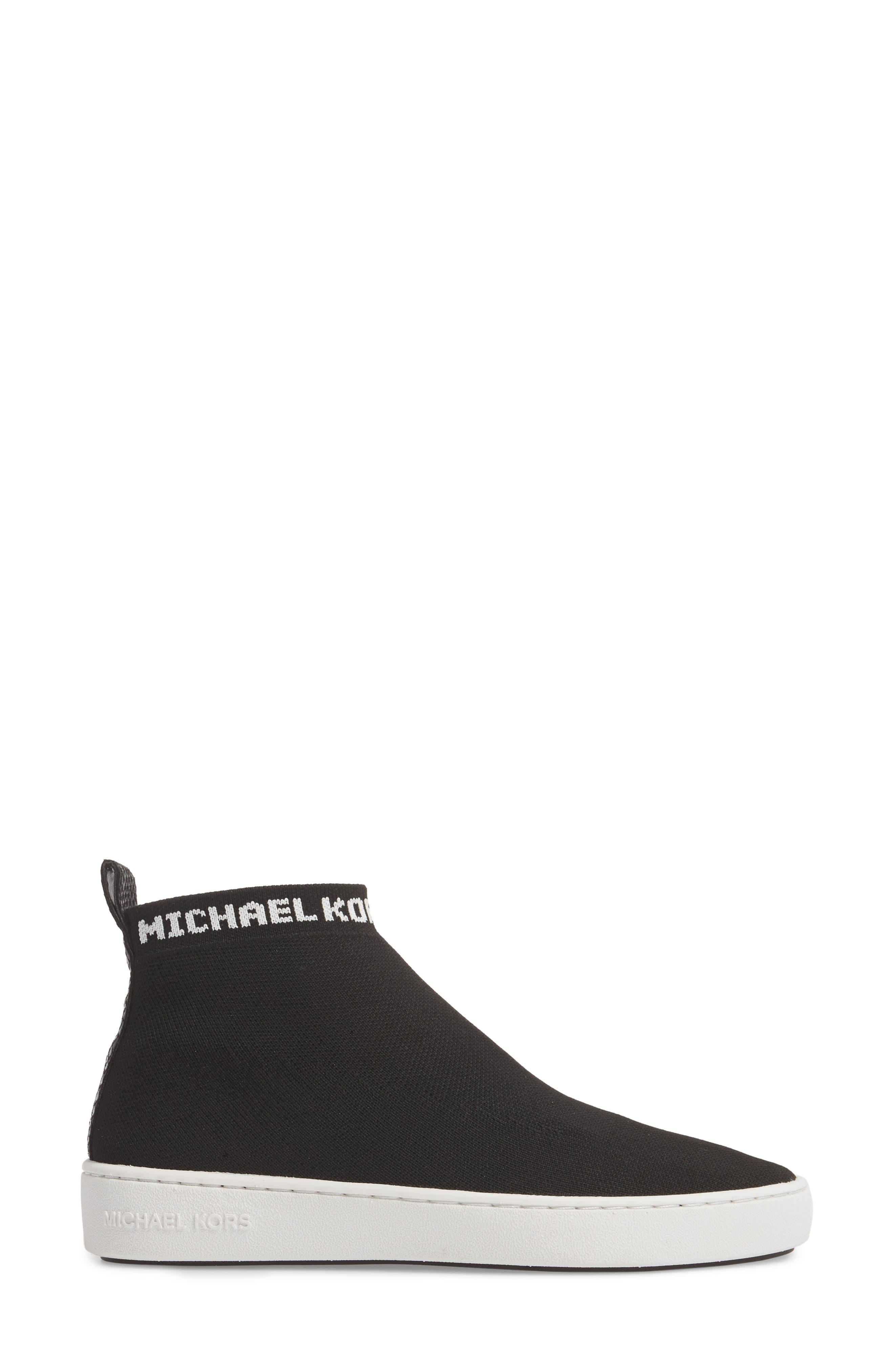 Hilda High Top Sock Sneaker,                             Alternate thumbnail 3, color,                             Black Knit Fabric