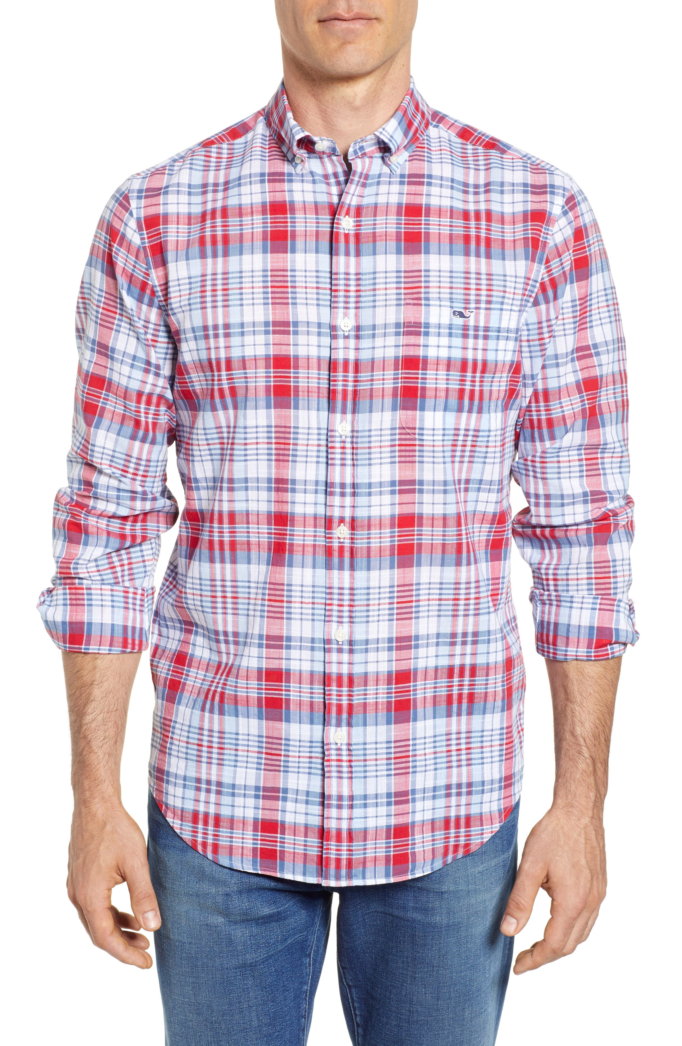 Firework Plaid Tucker Classic Fit Sport Shirt,                             Main thumbnail 1, color,                             Lighthouse Red