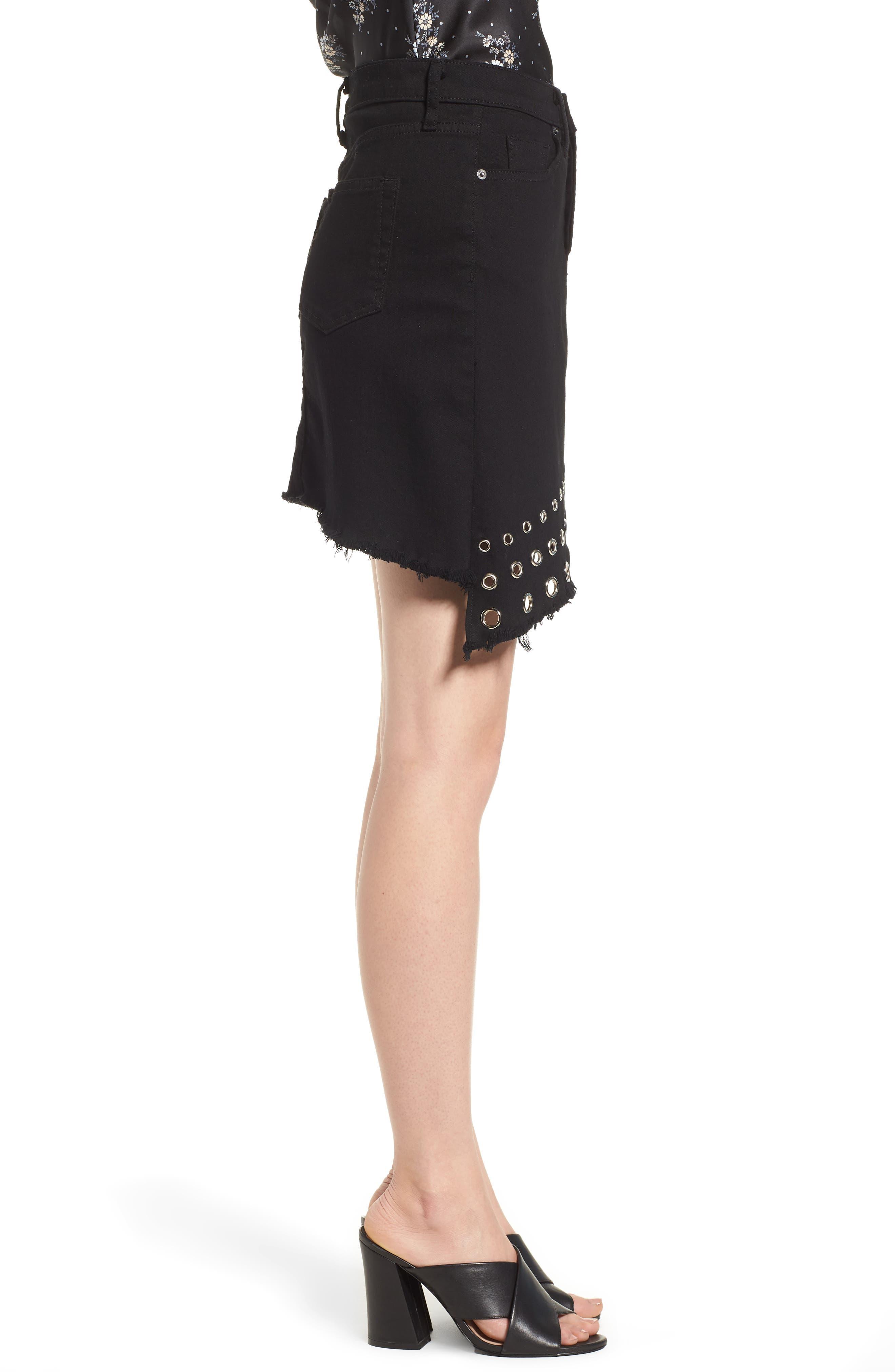 The Super Star Asymmetrical Miniskirt,                             Alternate thumbnail 6, color,                             Black Denim