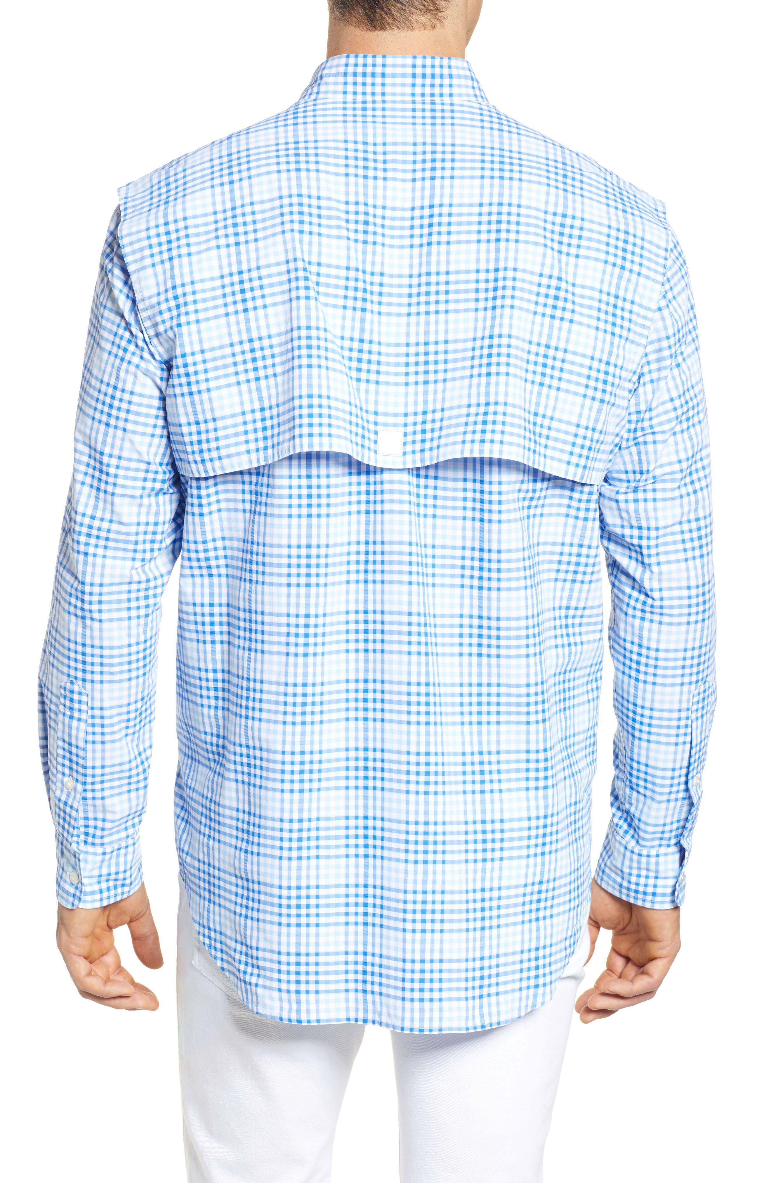 South Shore Harbor Regular Fit Plaid Performance Sport Shirt,                             Alternate thumbnail 3, color,                             Jake Blue