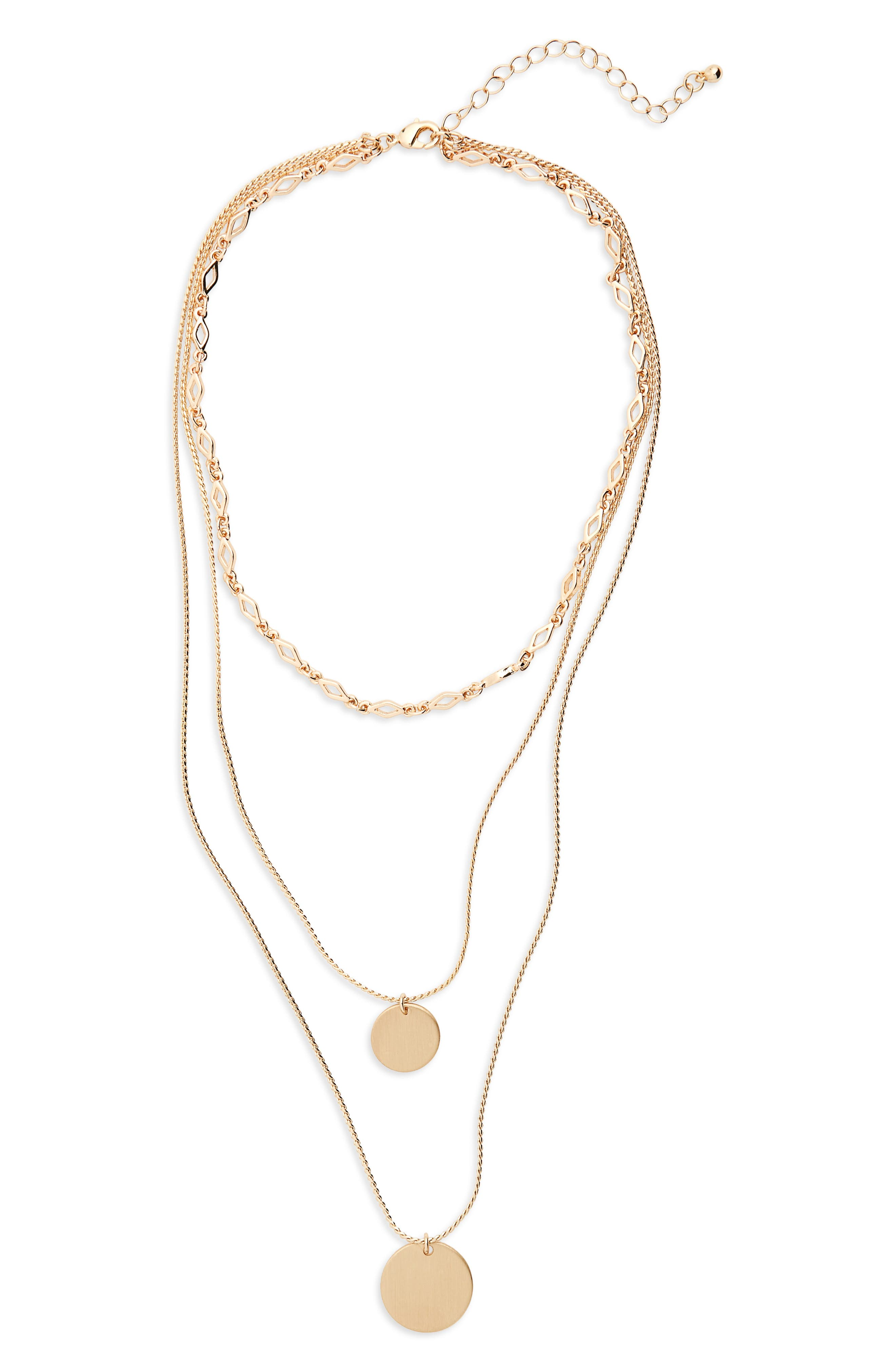 Layered Disc Pendant Necklace,                             Main thumbnail 1, color,                             Gold