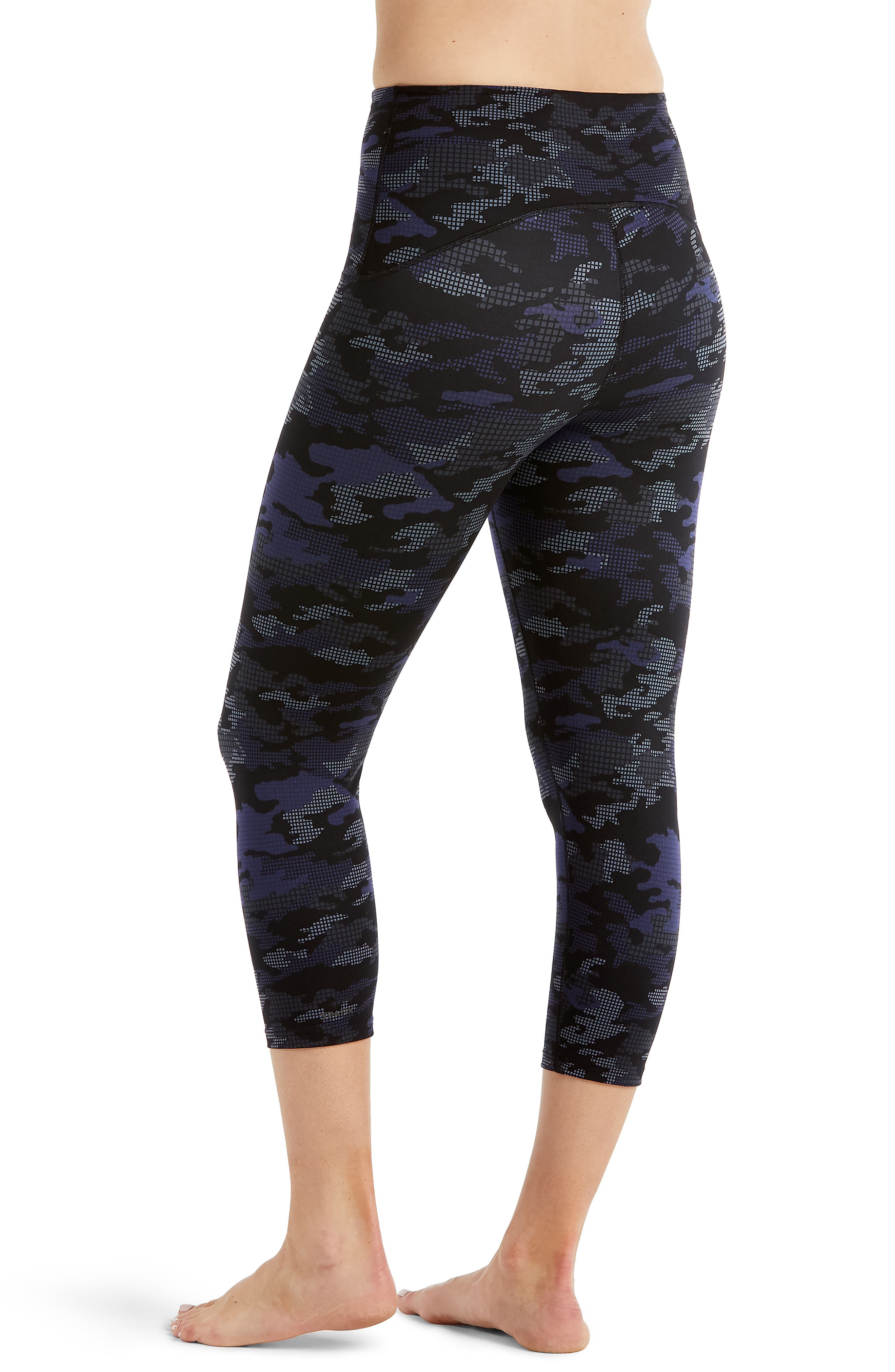 Active Print Crop Leggings,                             Alternate thumbnail 3, color,                             Geo Blue Camo