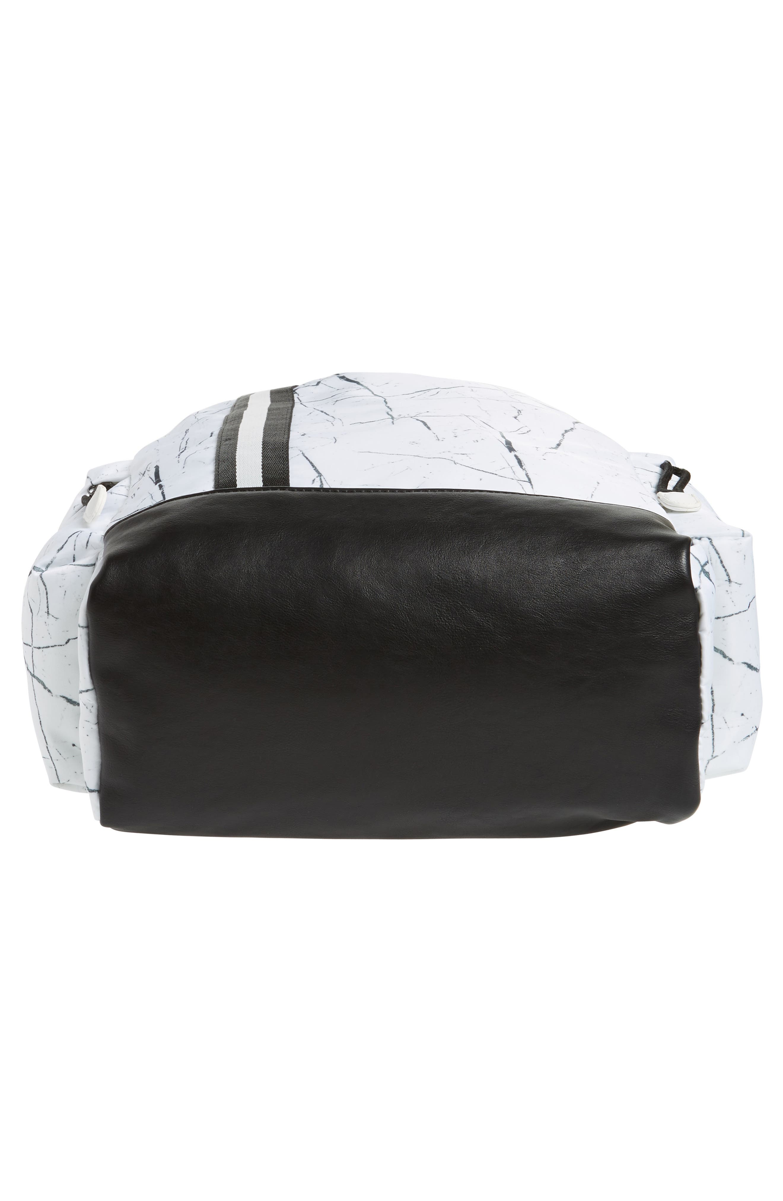 Theo Marble Print Backpack,                             Alternate thumbnail 6, color,                             White Marble