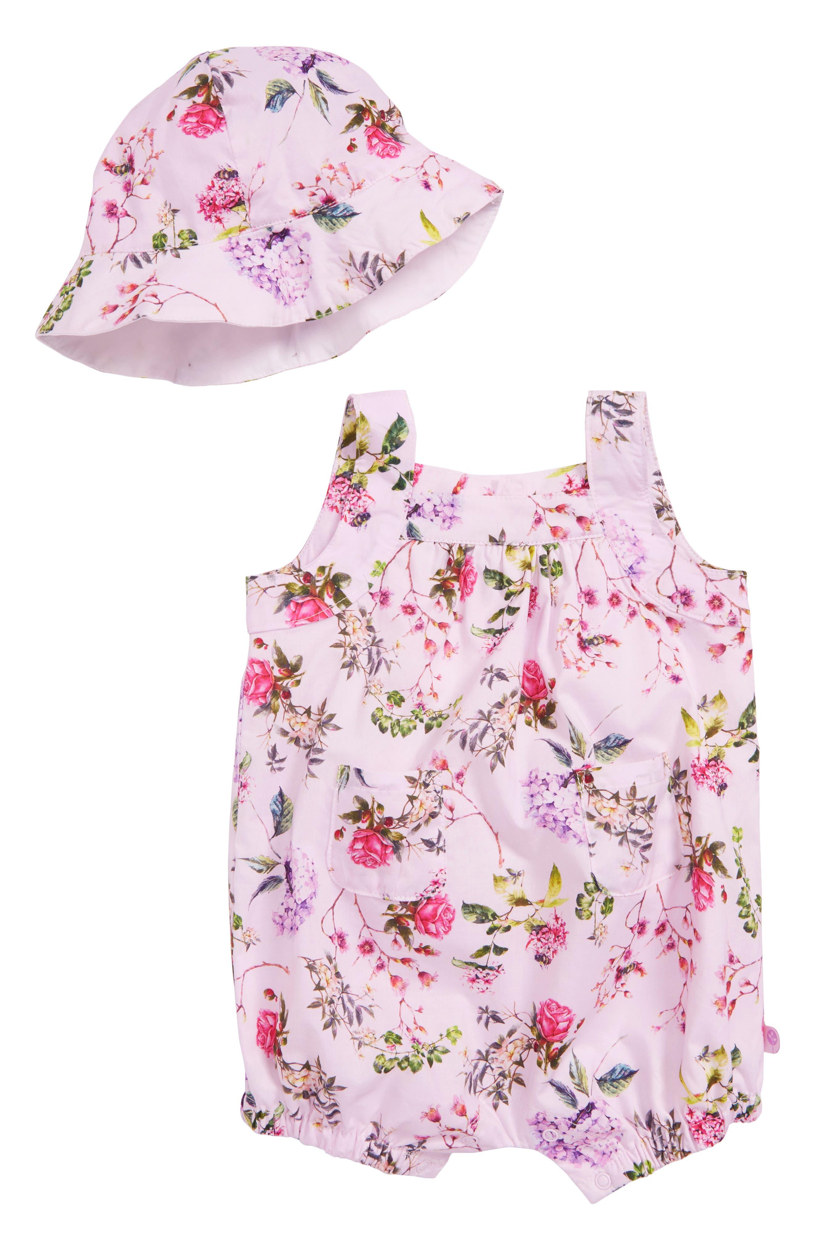 Blooms Woven Romper & Hat Set,                         Main,                         color, Floral