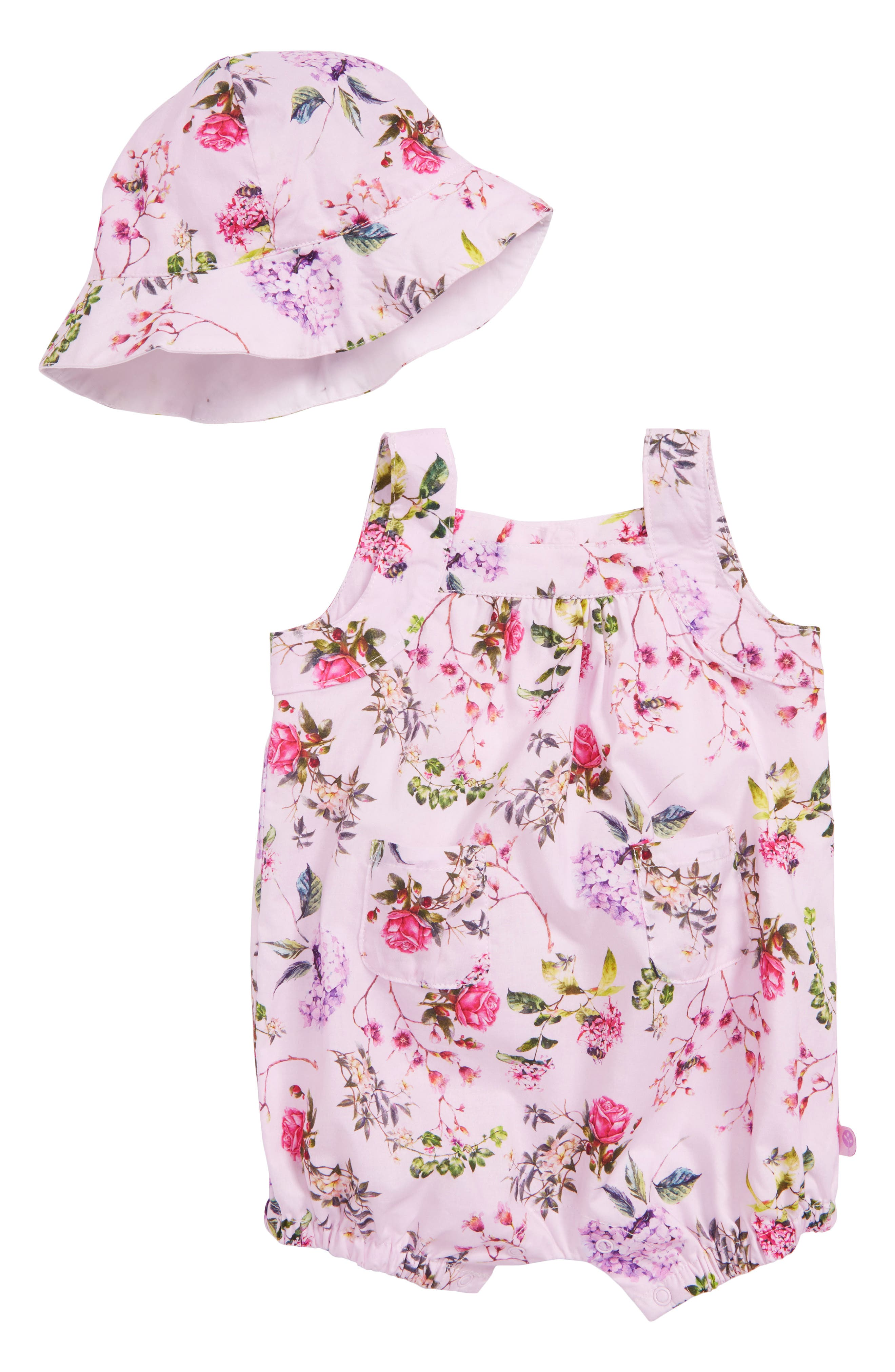 Offspring Blooms Woven Romper & Hat Set (Baby Girls)