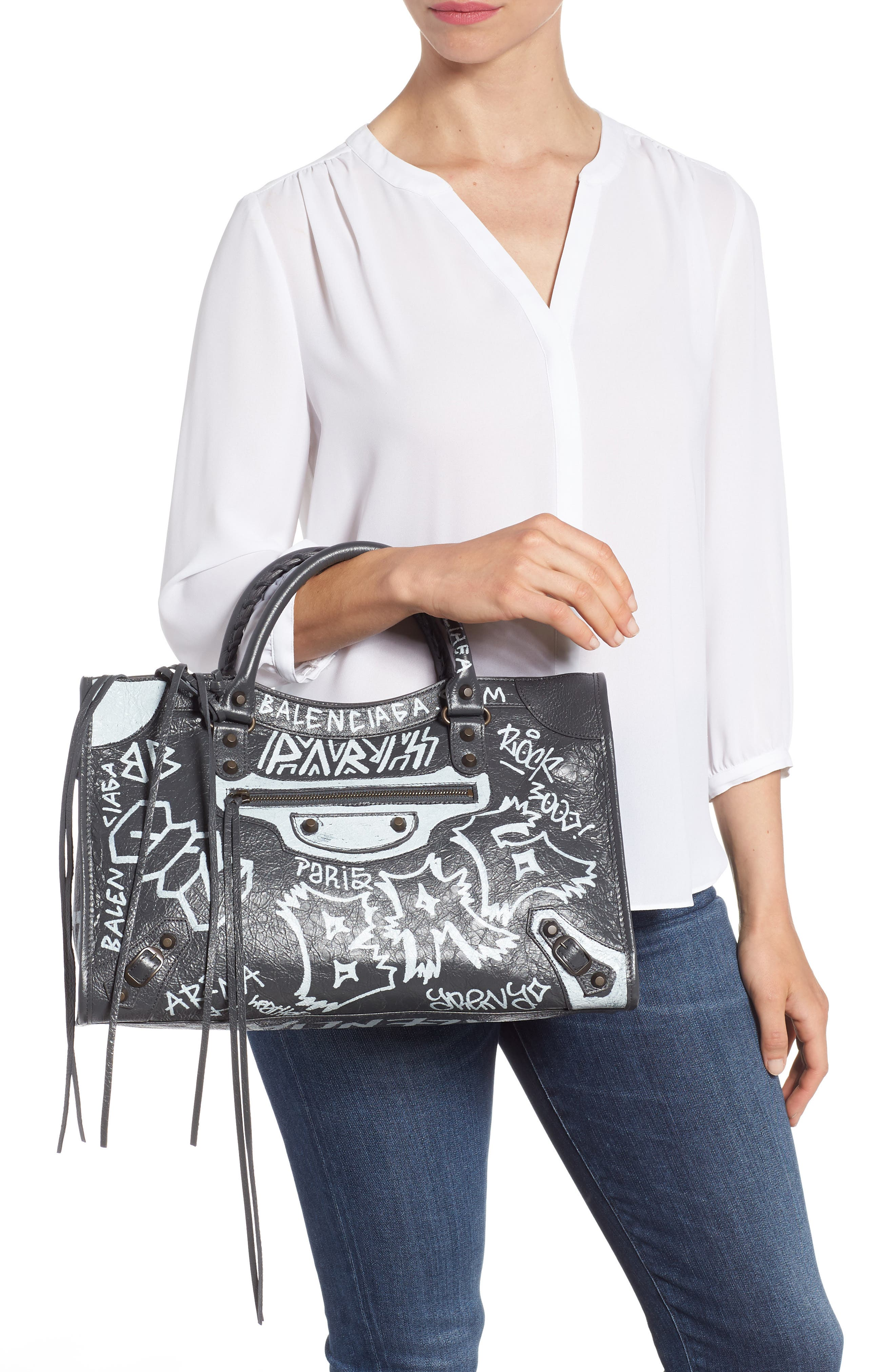 City Graffiti Leather Tote,                             Alternate thumbnail 2, color,                             Gris Fossile/ Blanc