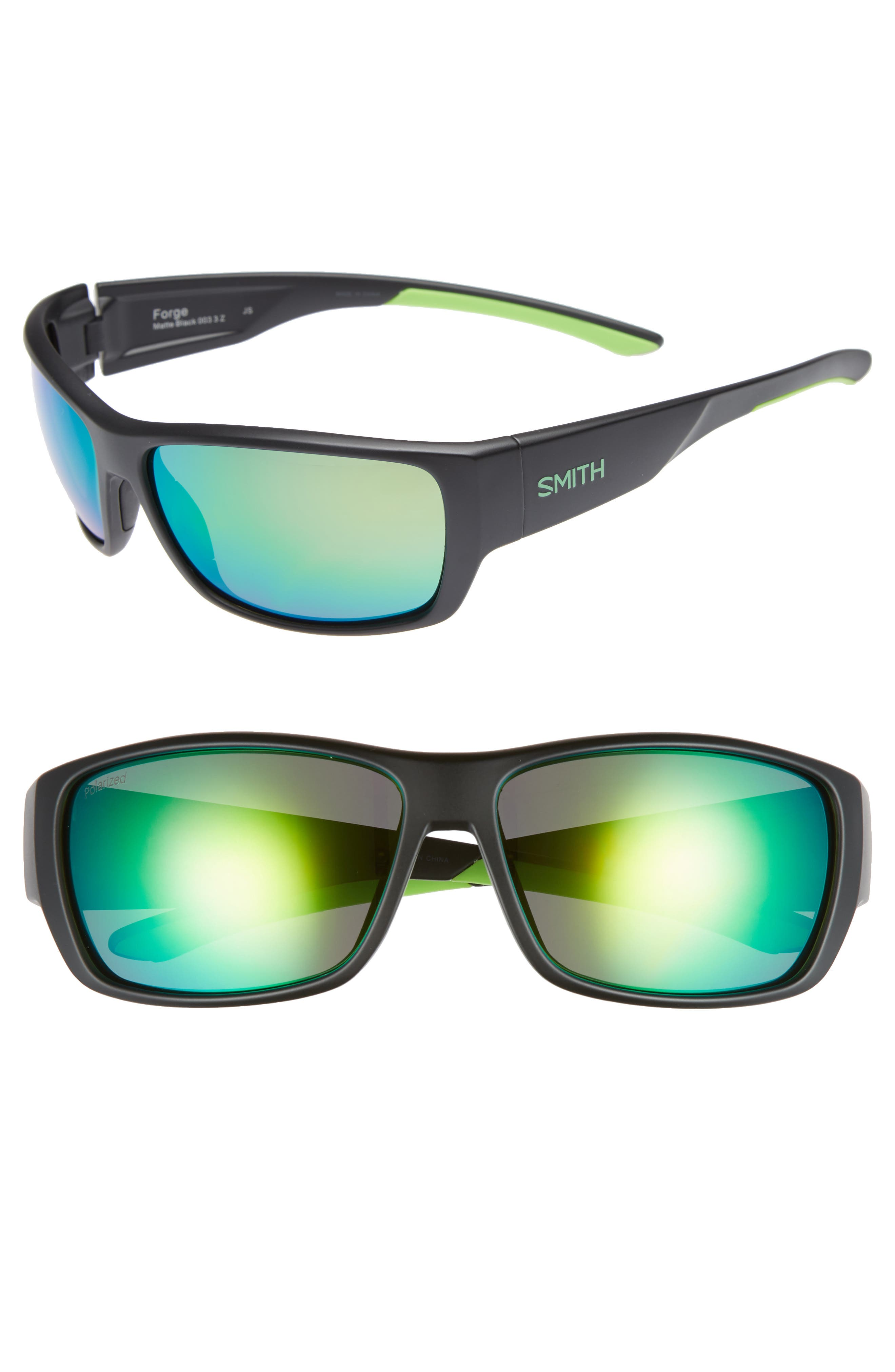 SMITH FORGE 61MM POLARIZED SUNGLASSES - MATTE BLACK/ GREEN MIRROR