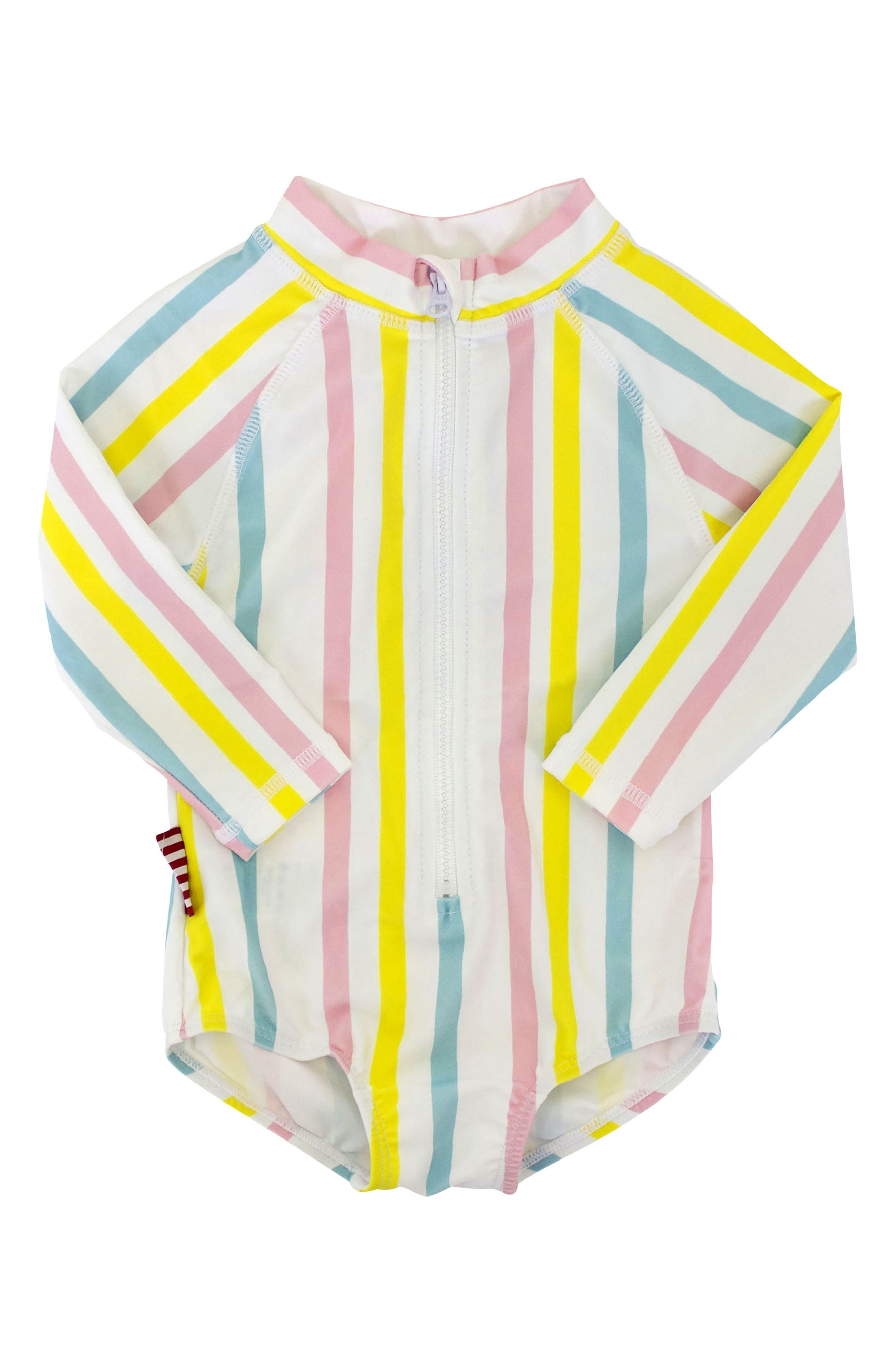 Stripe One-Piece Rashguard Swimsuit,                         Main,                         color, Yellow Multi