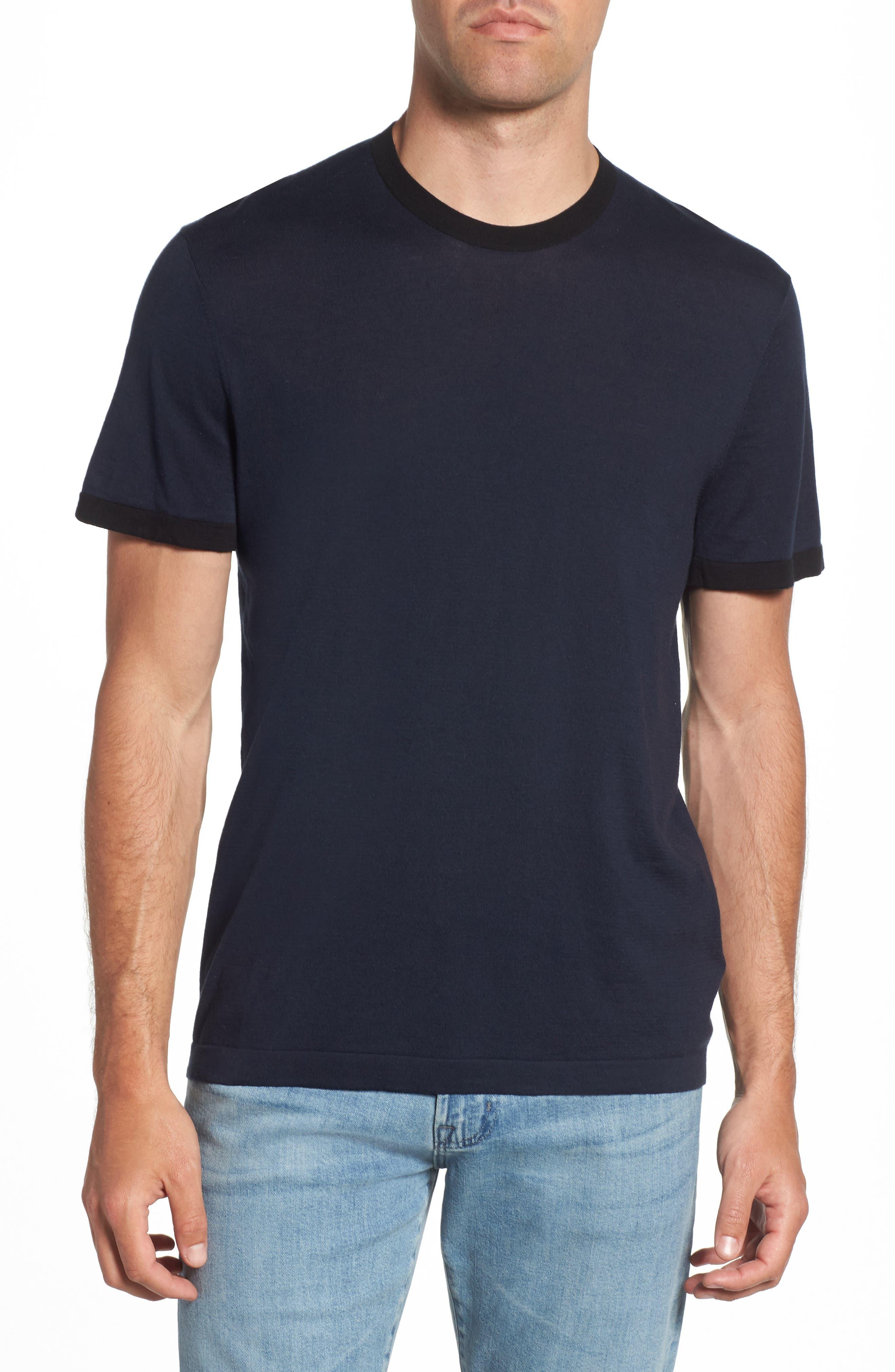Regular Fit Ringer T-Shirt,                         Main,                         color, French Navy/ Black