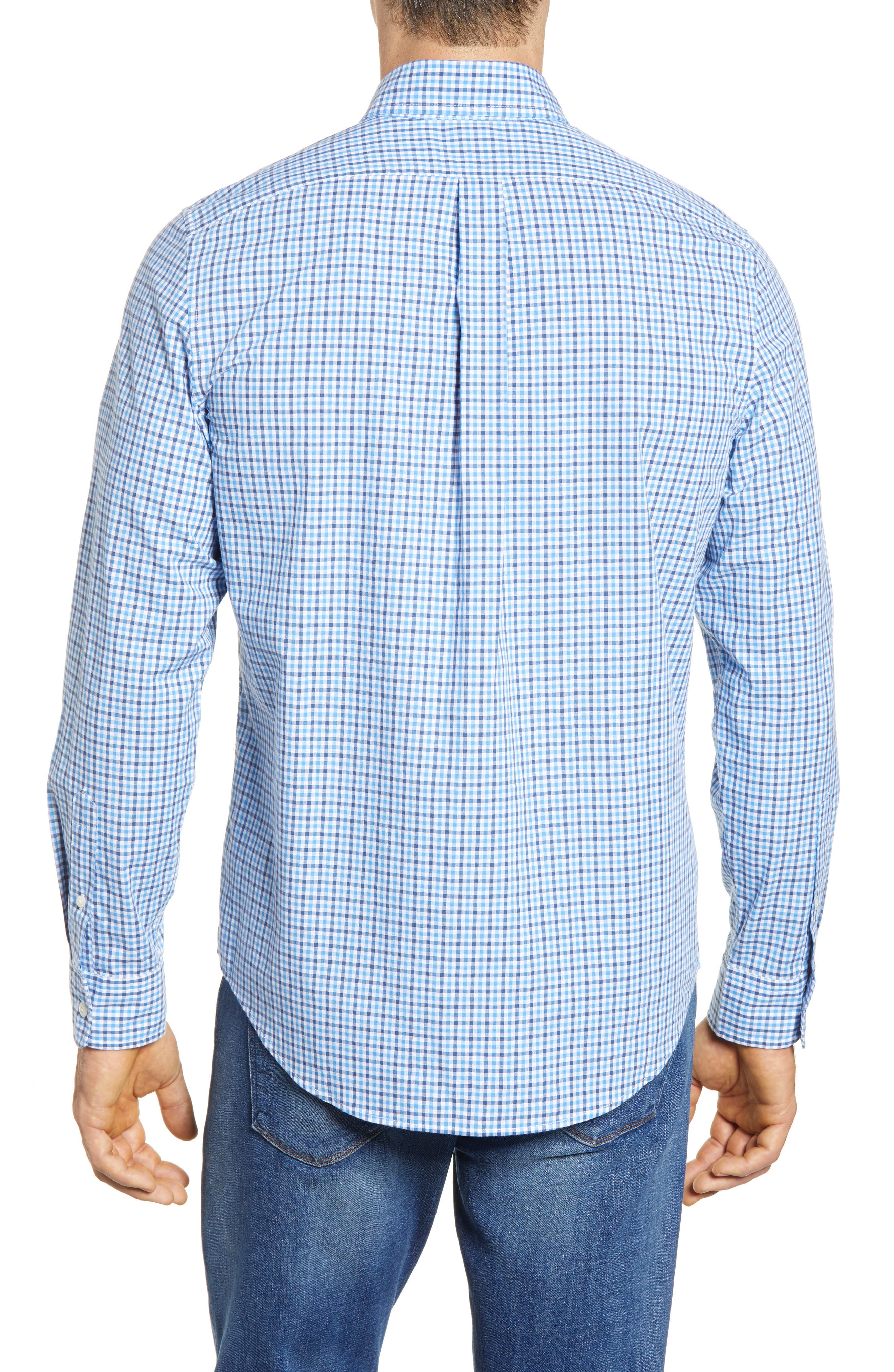 Point Gammon Slim Fit Gingham Sport Shirt,                             Alternate thumbnail 3, color,                             Moonshine