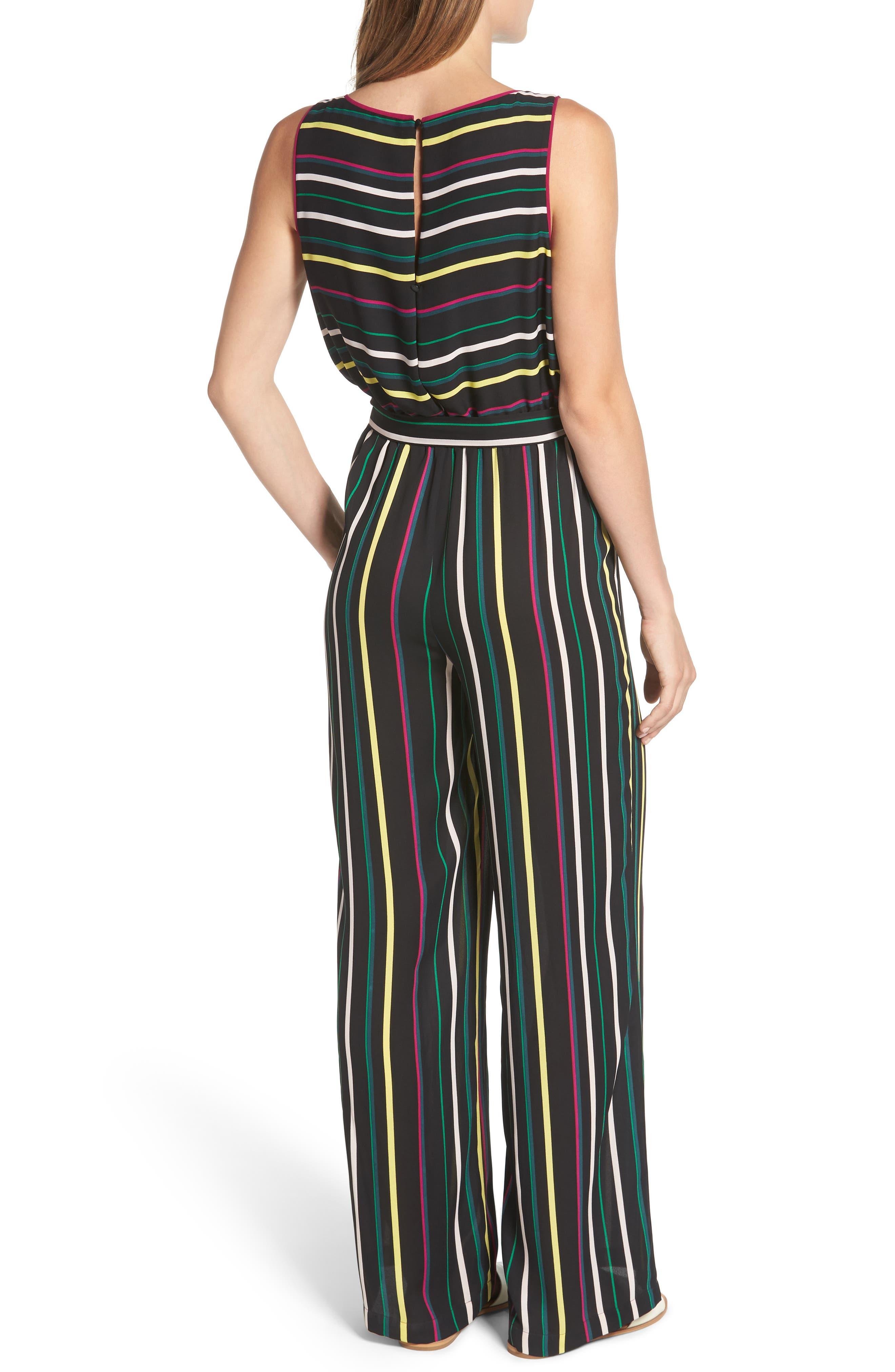 Paradise Stripe Jumpsuit,                             Alternate thumbnail 2, color,                             Rich Black