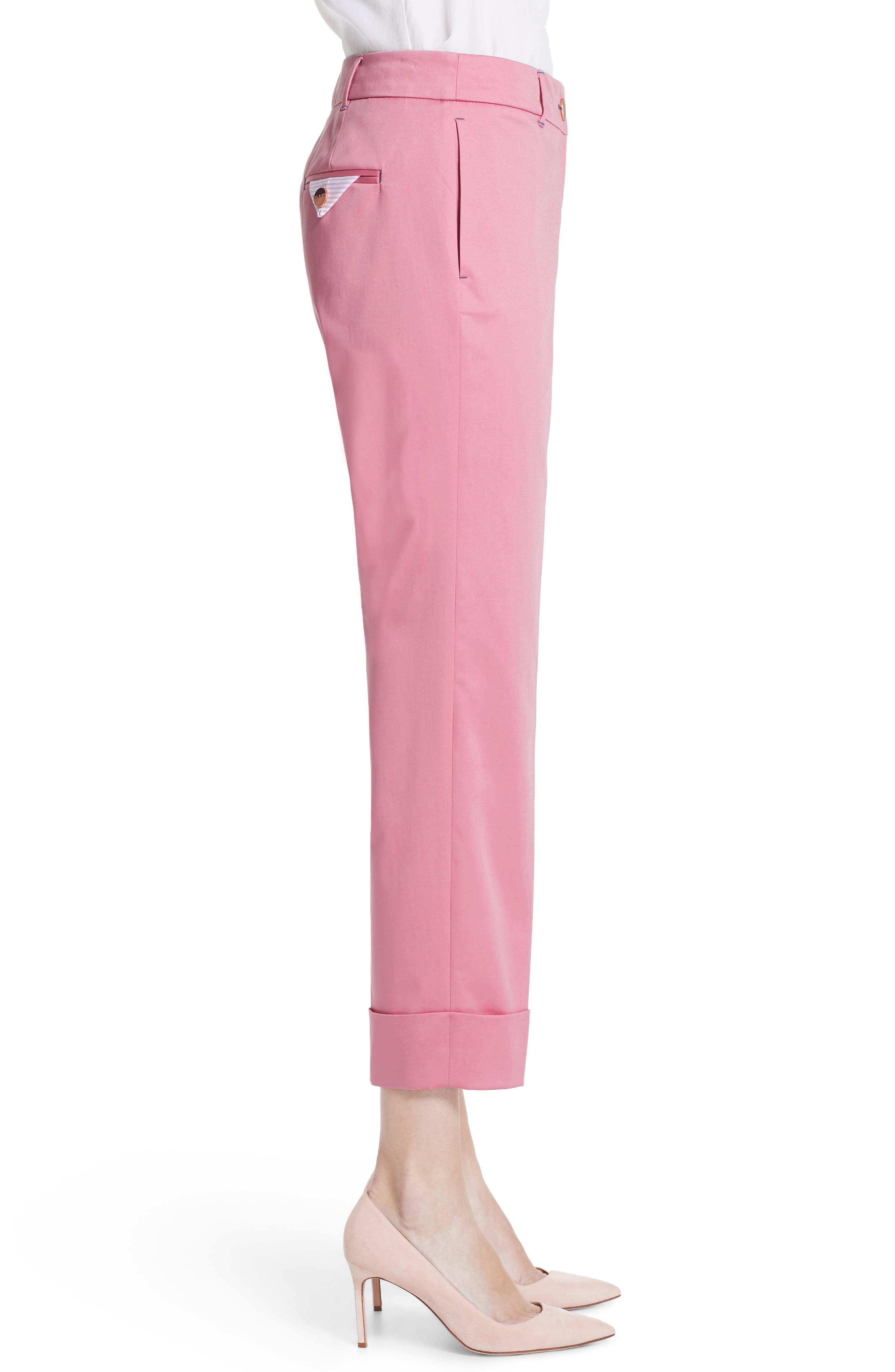 Saydii Deep Cuff Stretch Cotton Chino Pants,                             Alternate thumbnail 3, color,                             Dusky Pink
