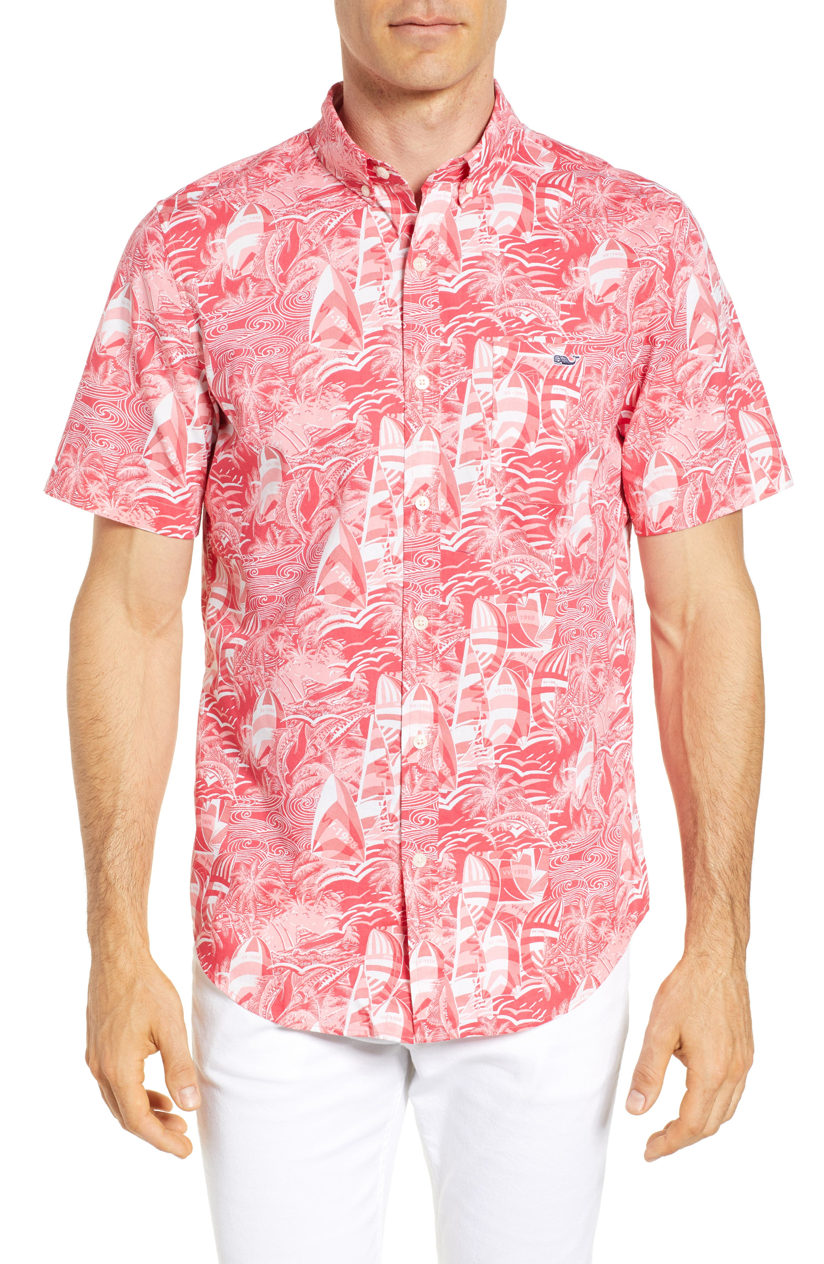 At Sea Tucker Slim Fit Sport Shirt,                         Main,                         color, Sailors Red
