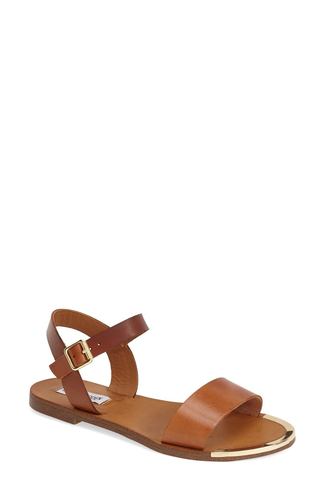 'Rillie' Two Strap Sandal,                             Main thumbnail 1, color,                             Tan Leather