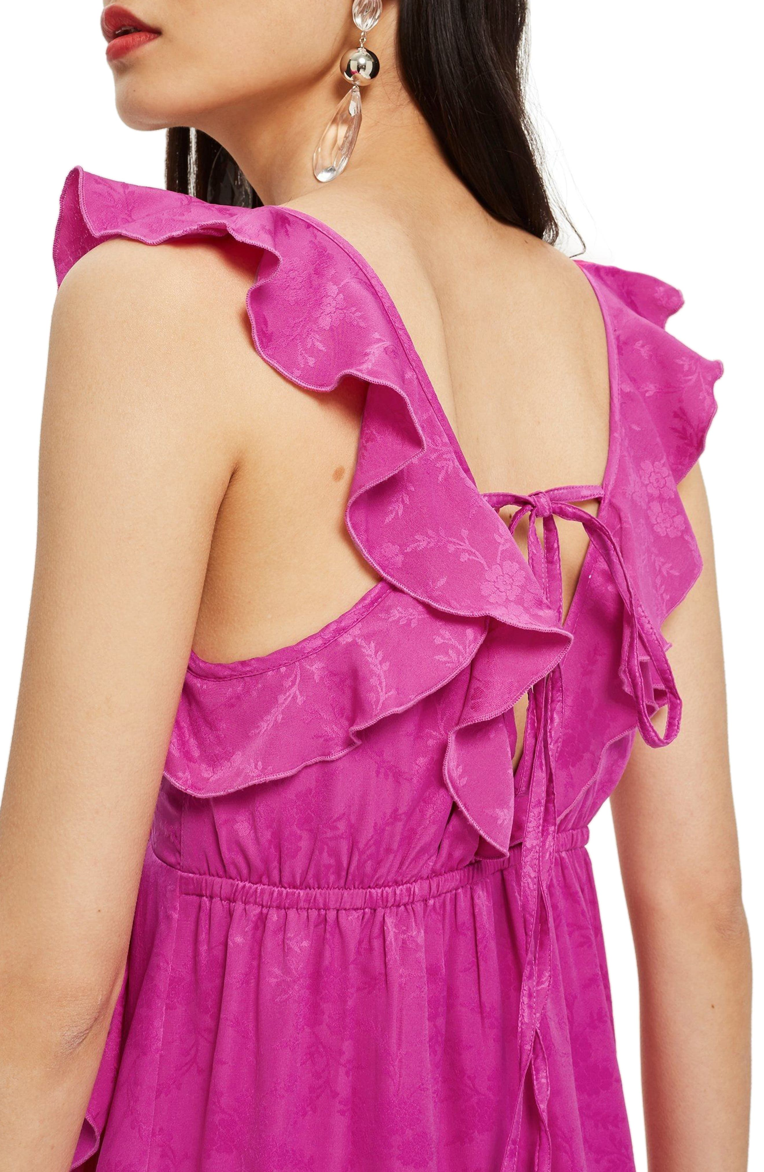 Jacquard Ruffle Faux Wrap Midi Dress,                             Alternate thumbnail 3, color,                             Pink