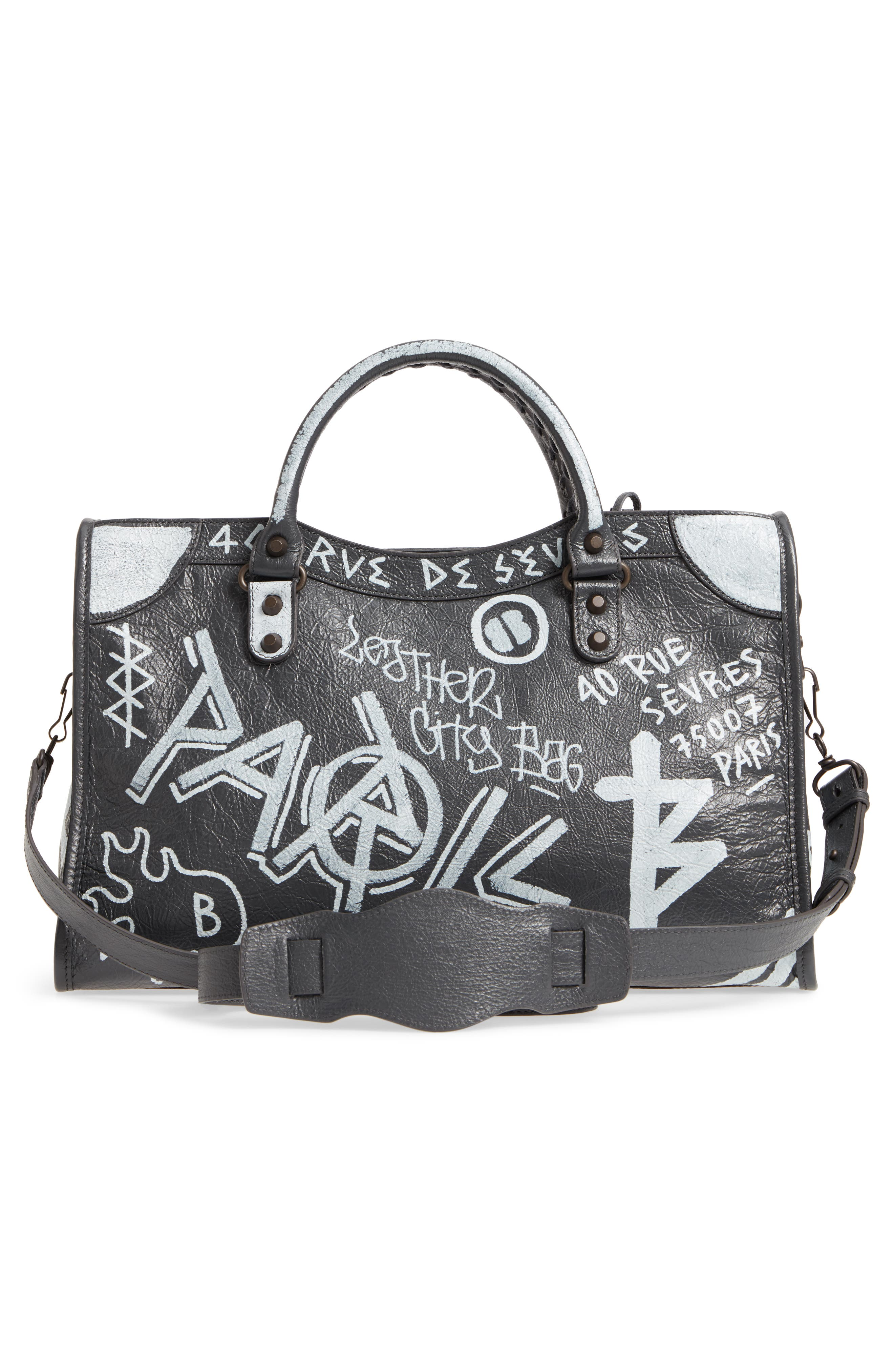 City Graffiti Leather Tote,                             Alternate thumbnail 3, color,                             Gris Fossile/ Blanc