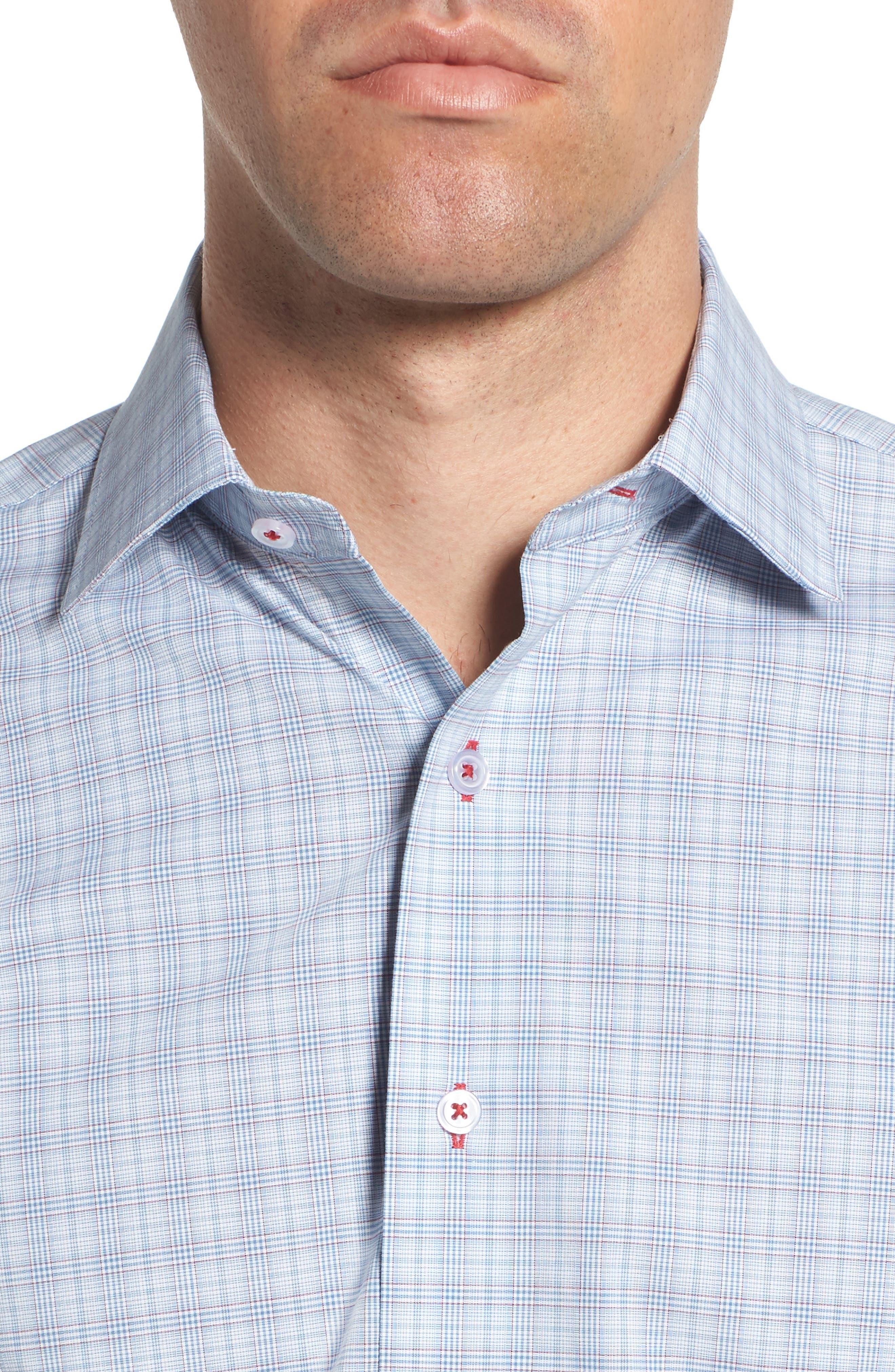 Trim Fit Plaid Dress Shirt,                             Alternate thumbnail 2, color,                             Blue/ Red