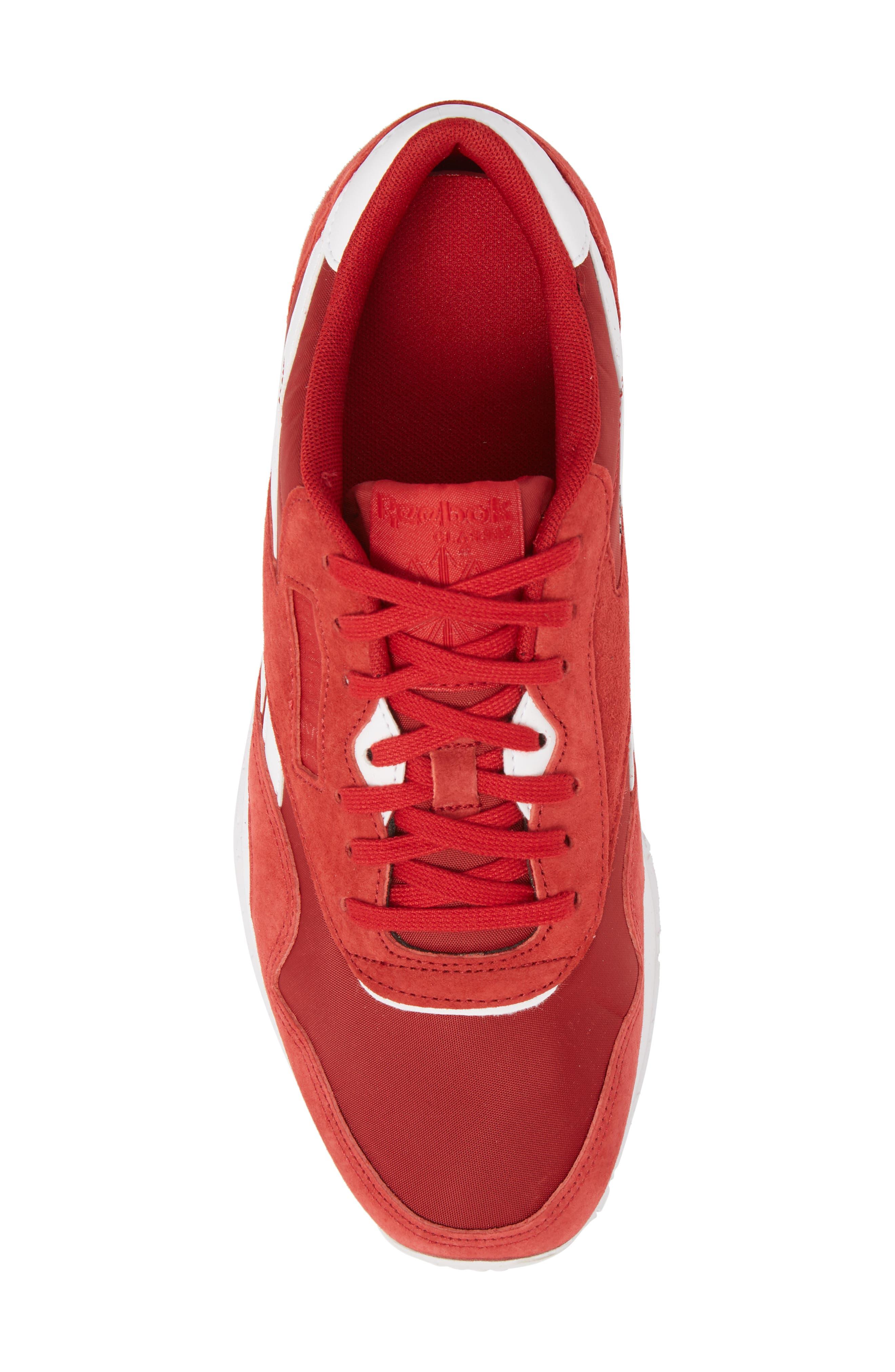 Classic Nylon PN Sneaker,                             Alternate thumbnail 5, color,                             Power Red/ White