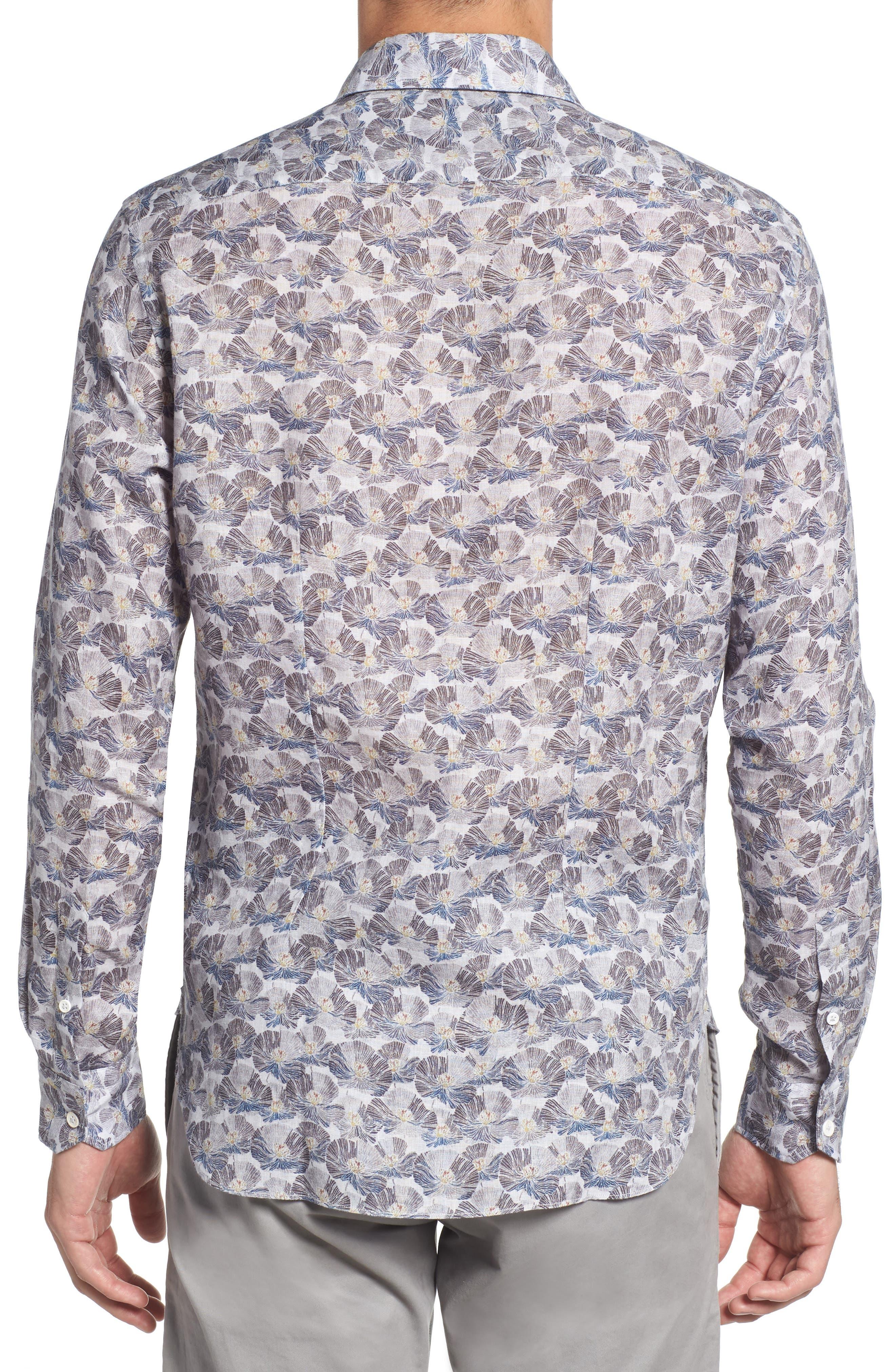 Trim Fit Print Linen Sport Shirt,                             Alternate thumbnail 4, color,                             Grey