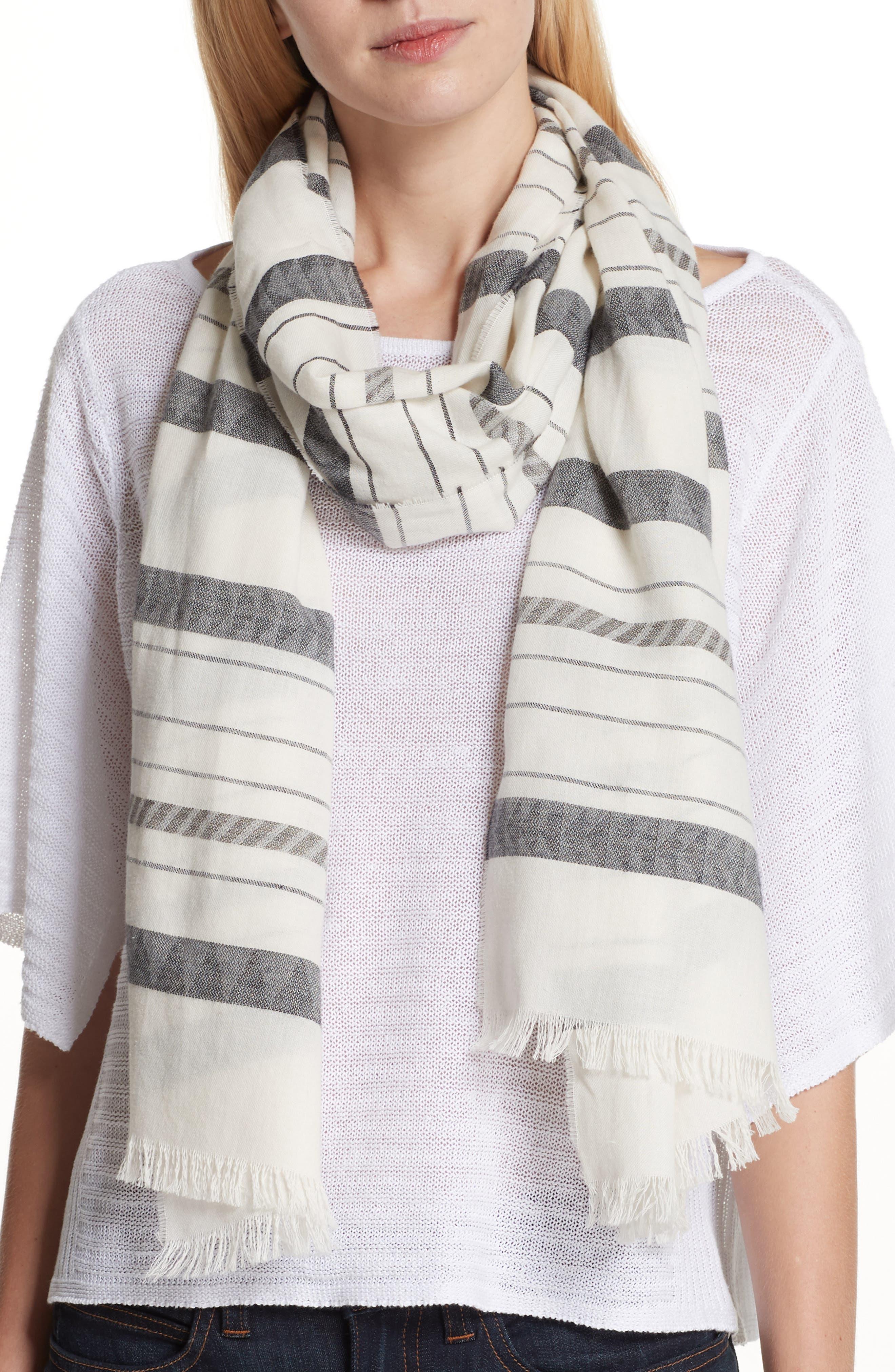 Stripe Organic Cotton & Linen Scarf,                             Main thumbnail 1, color,                             White