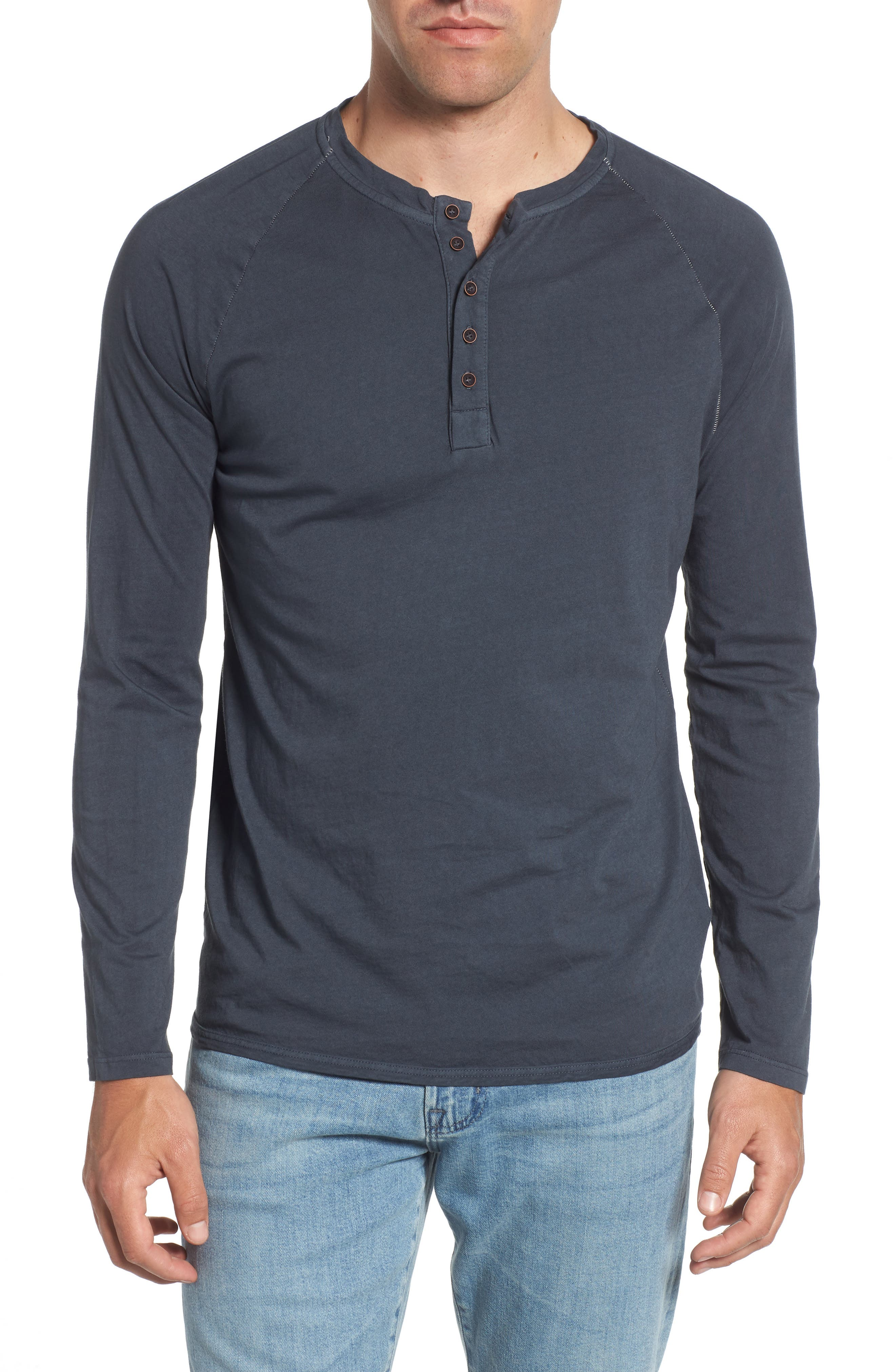 Long Sleeve Henley,                         Main,                         color, Charcoal