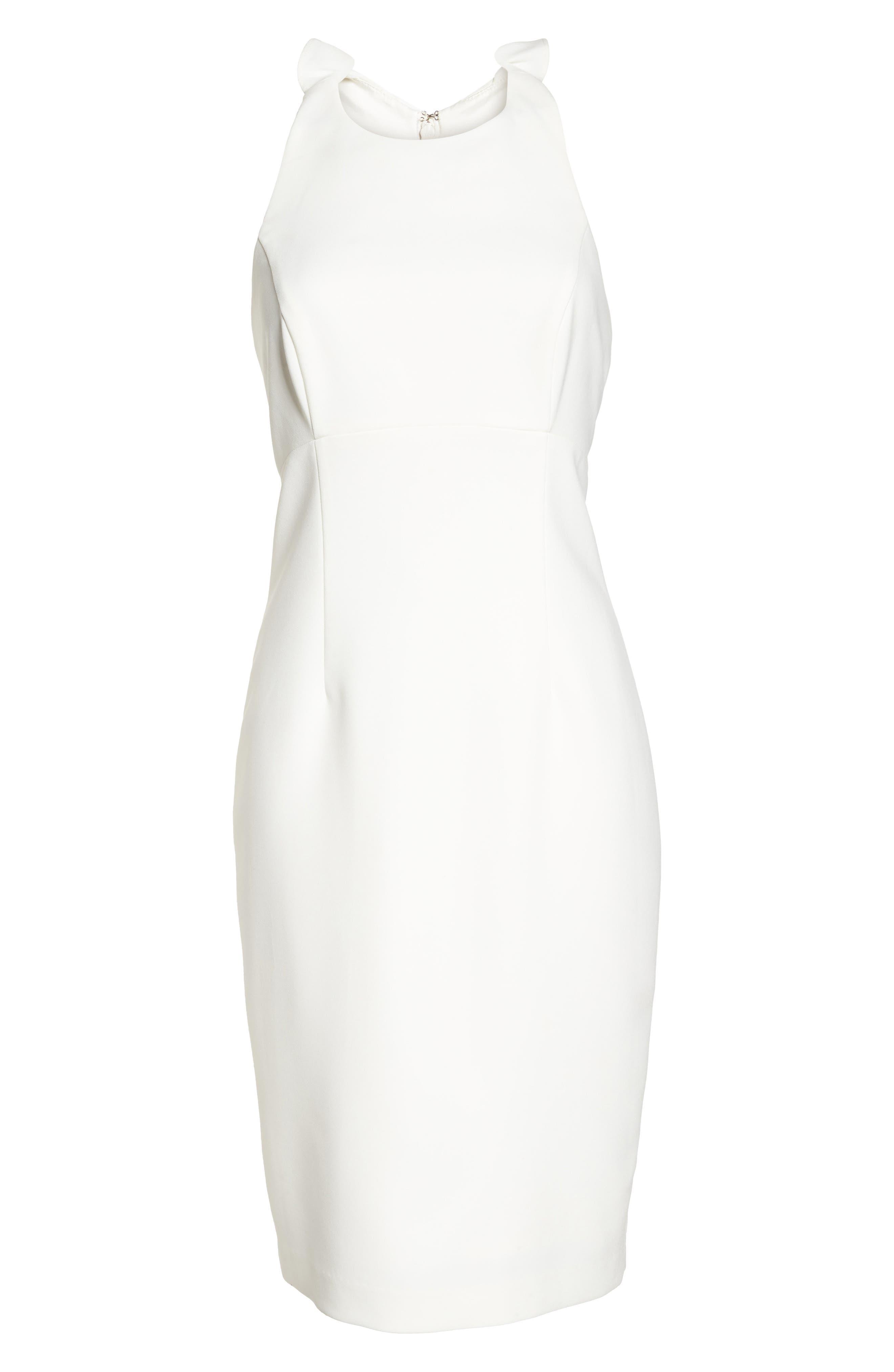 Sleeveless Ruffle Back Sheath Dress,                             Alternate thumbnail 6, color,                             Ivory