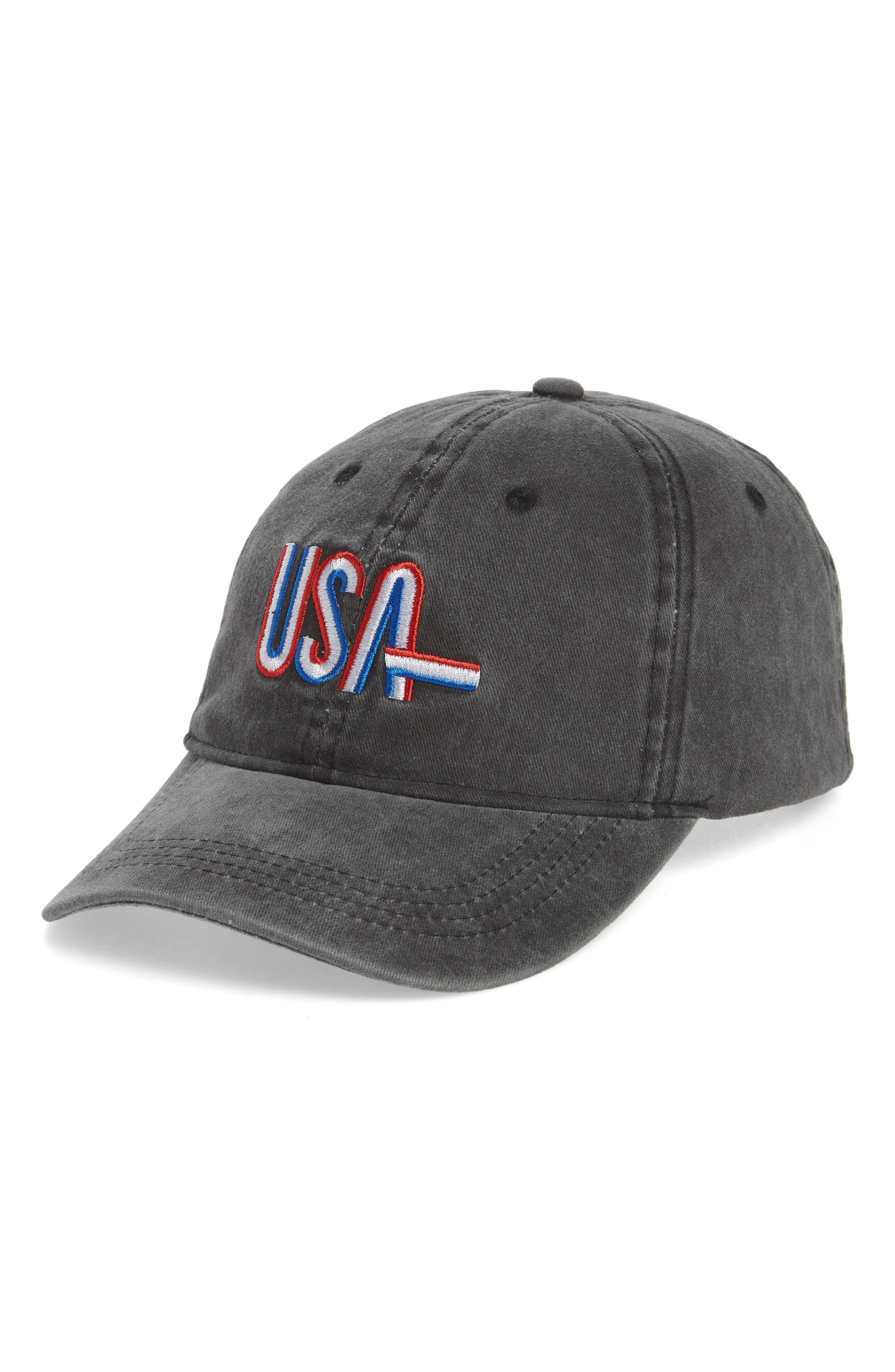 USA Baseball Cap,                         Main,                         color, Washed Black