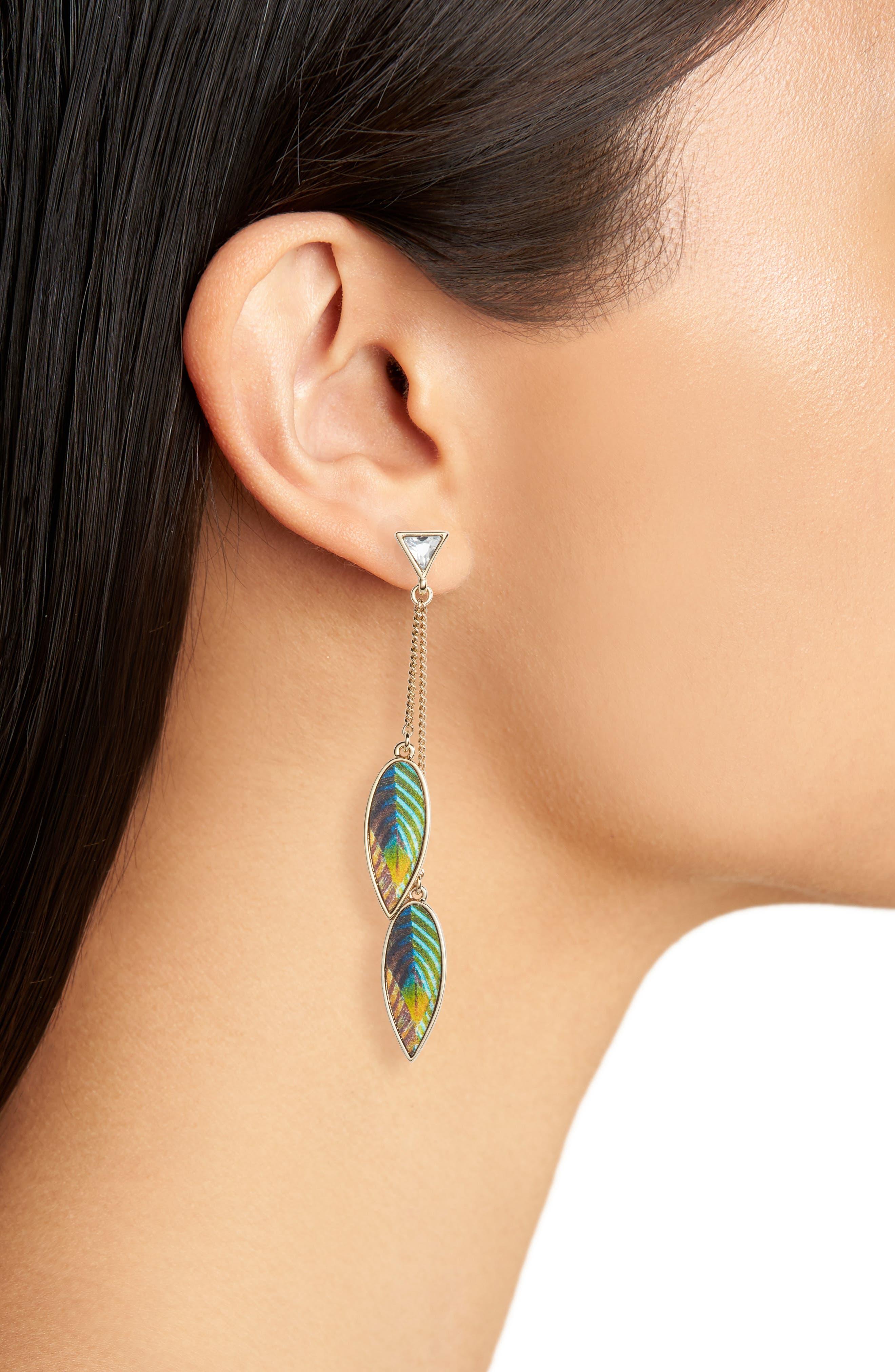 Metallic Leather Leaf Drop Earrings,                             Alternate thumbnail 2, color,                             Gold
