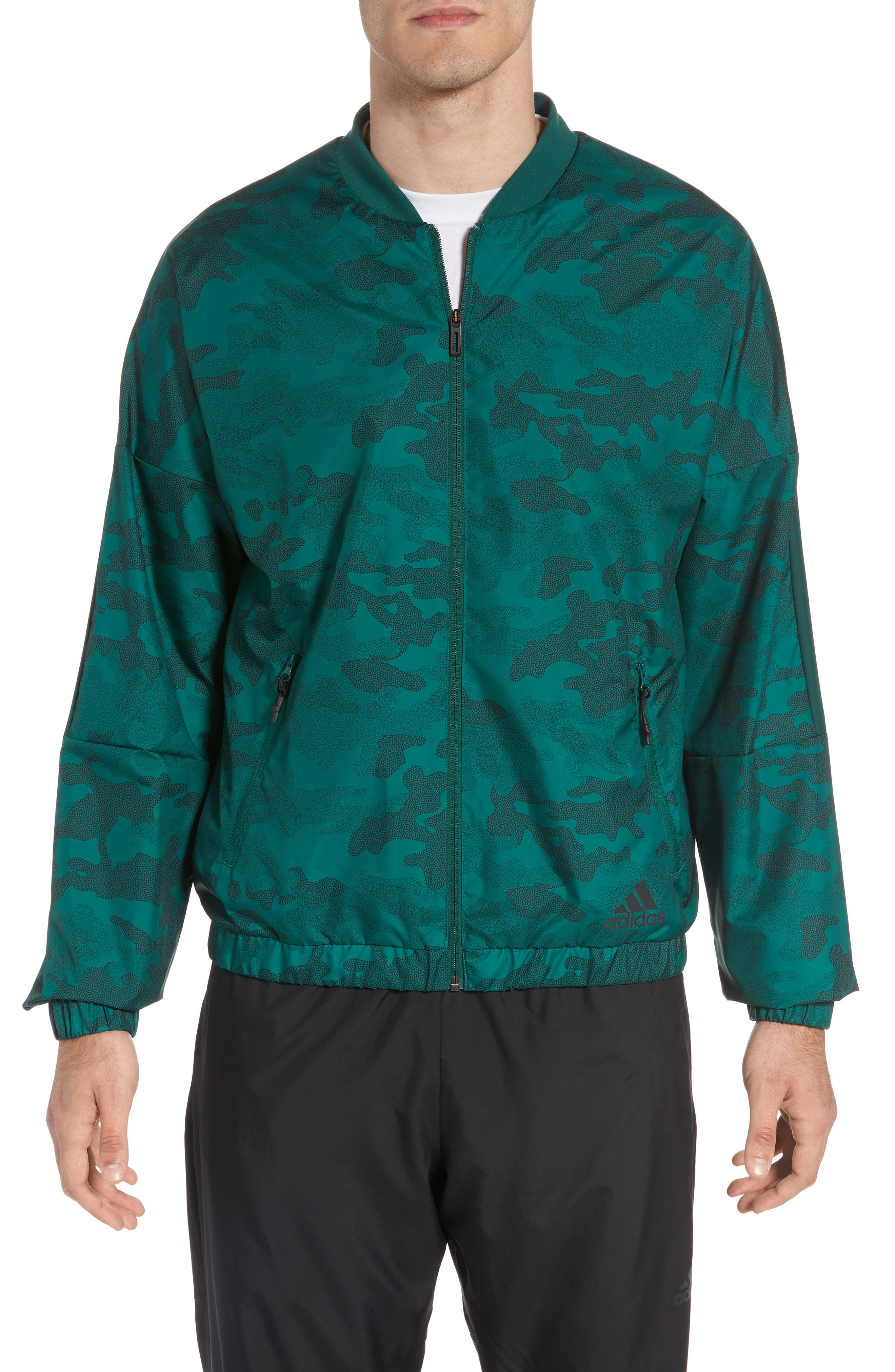Regular Fit Track Jacket,                             Main thumbnail 1, color,                             Collegiate Green/ Black