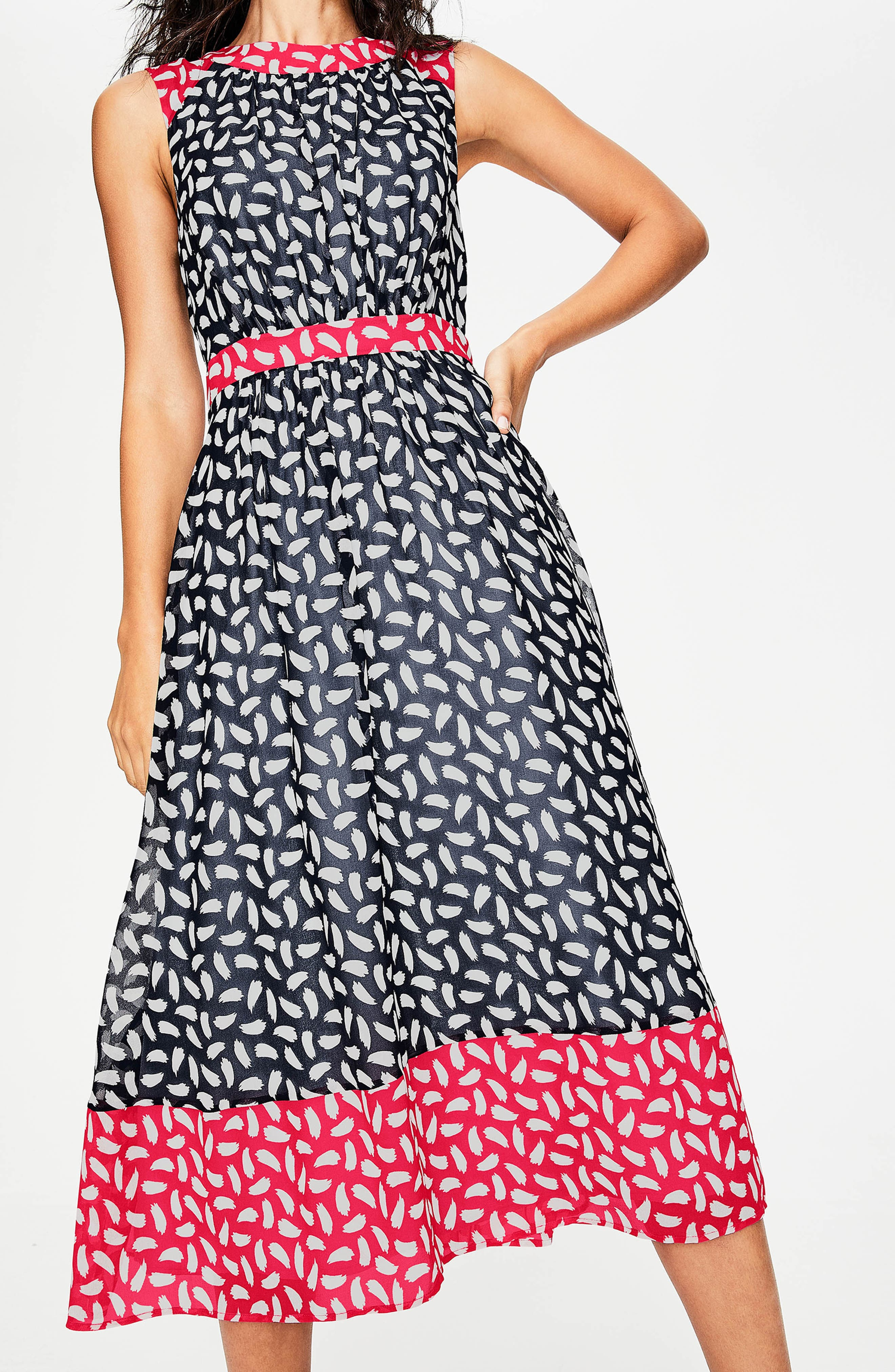 Sylvie Print Sleeveless Dress,                             Alternate thumbnail 2, color,                             Navy Brush Stroke