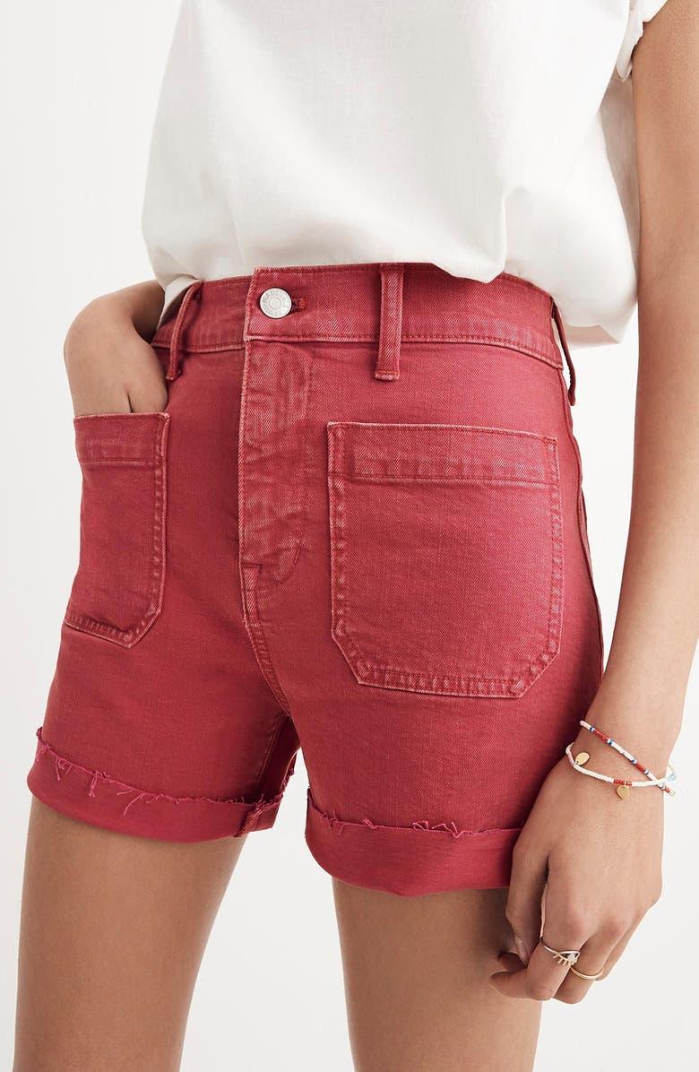 Garment Dyed High Waist Denim Shorts
